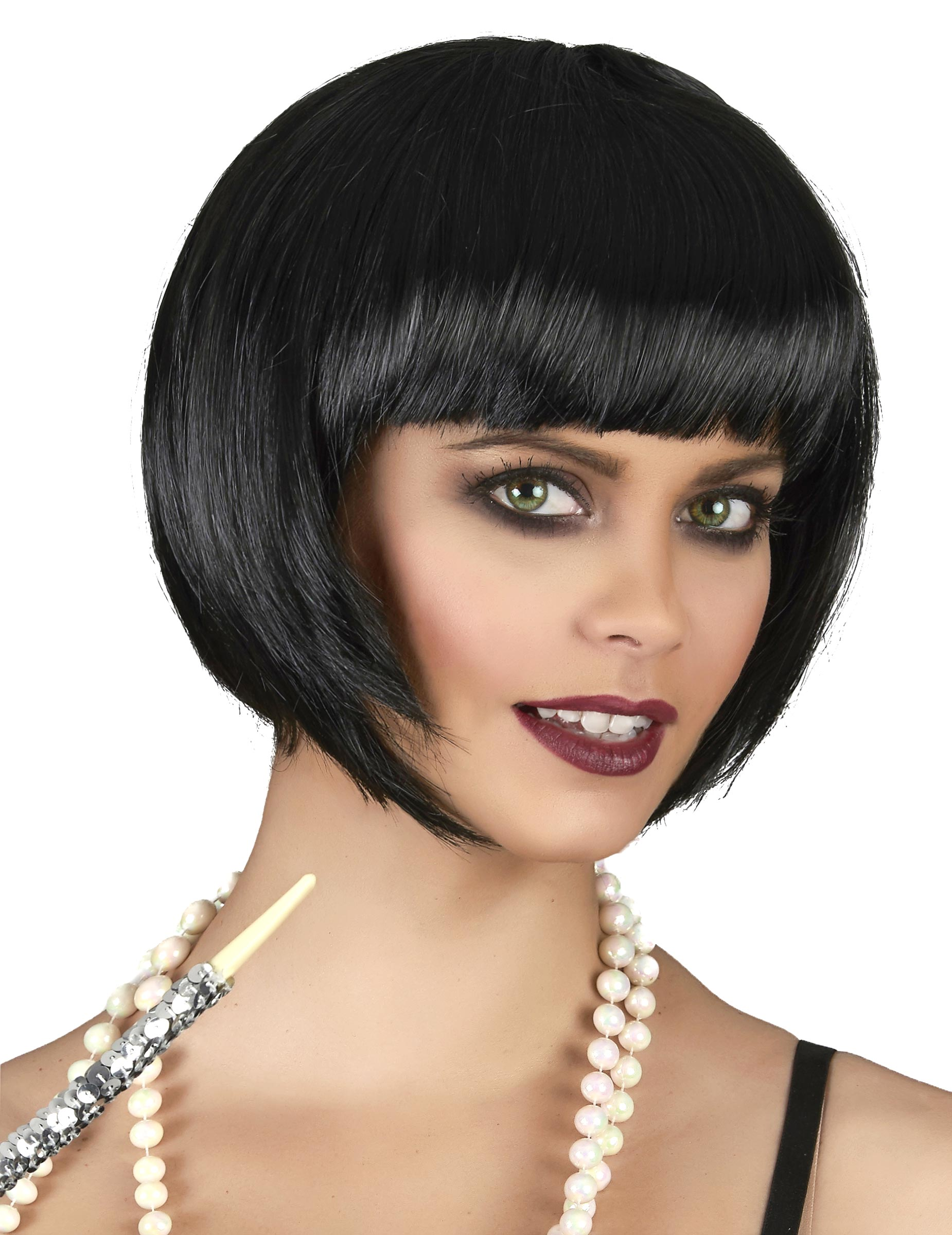 Perruque courte noire femme