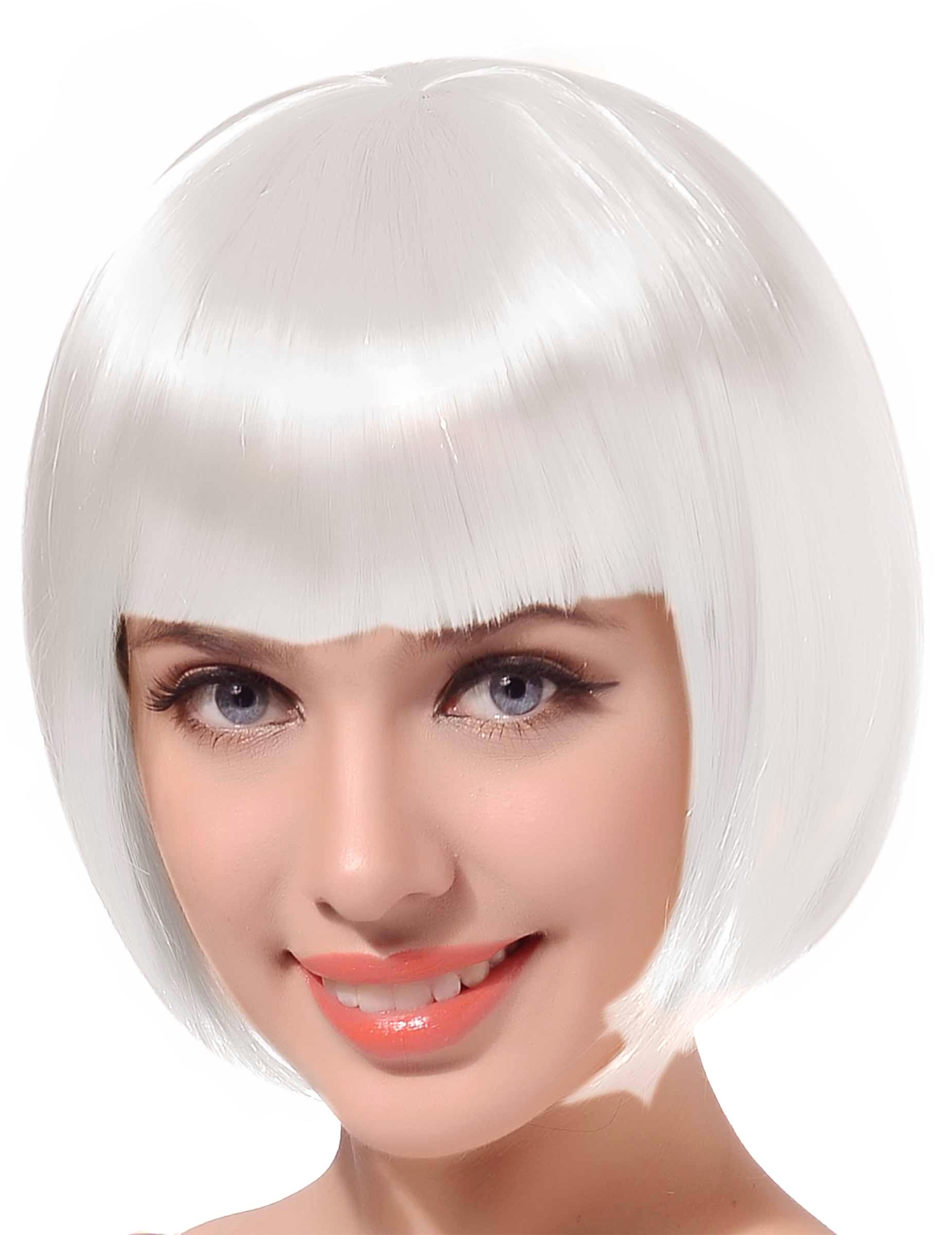 Perruque courte à frange blanche femme :