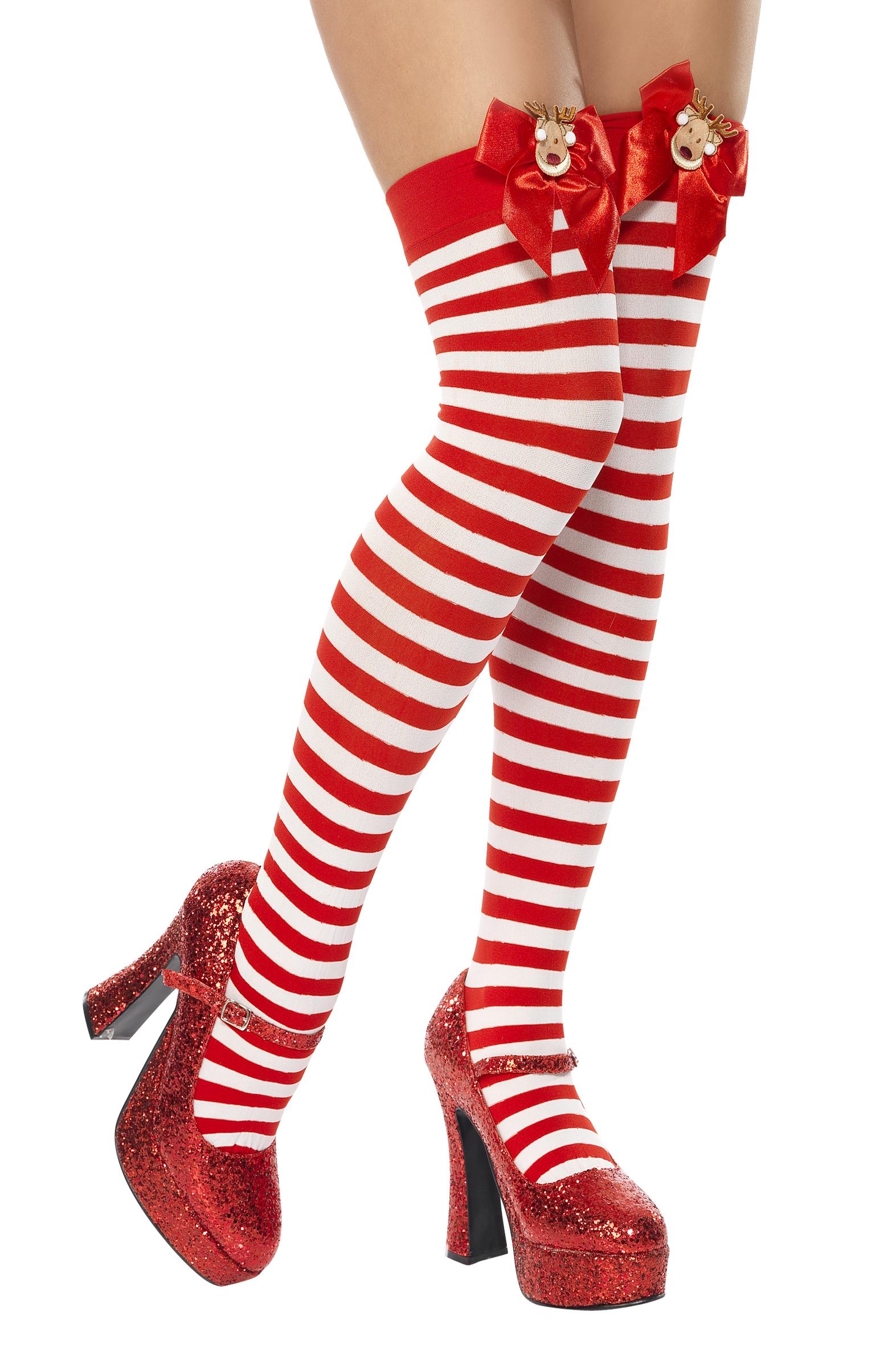 Bas rayés rouge et blanc renne de Noël adulte   Deguise-toi 221ebe68f4d