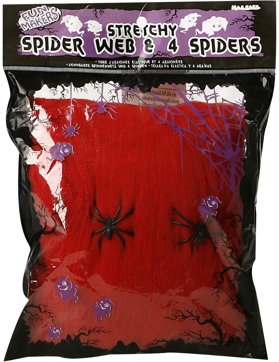 Toile d 39 araign e rouge deguise toi achat de decoration for Toile d araignee decoration
