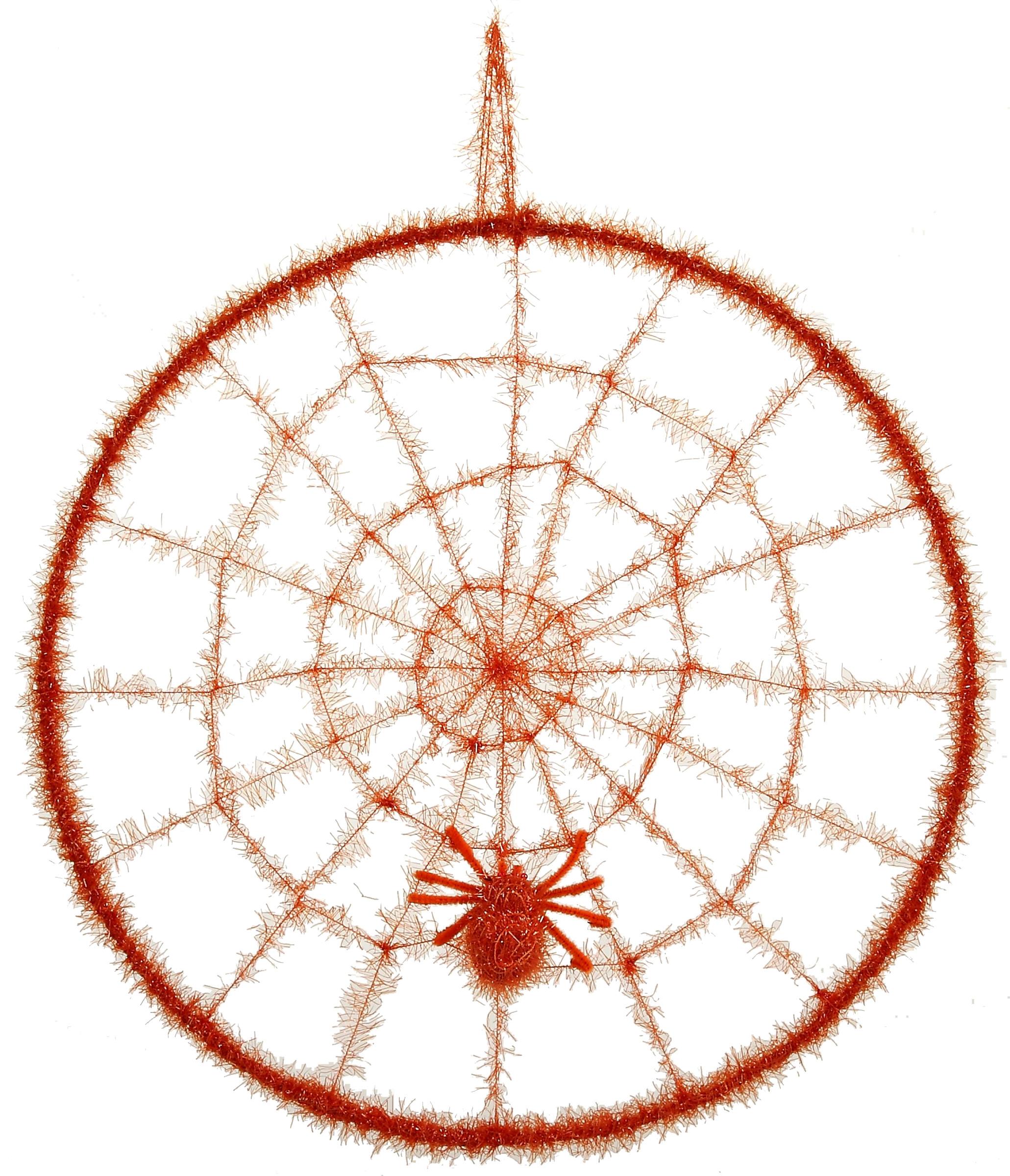 Toile d 39 araign e orange avec une araign e en cercle for Toile d araignee decoration