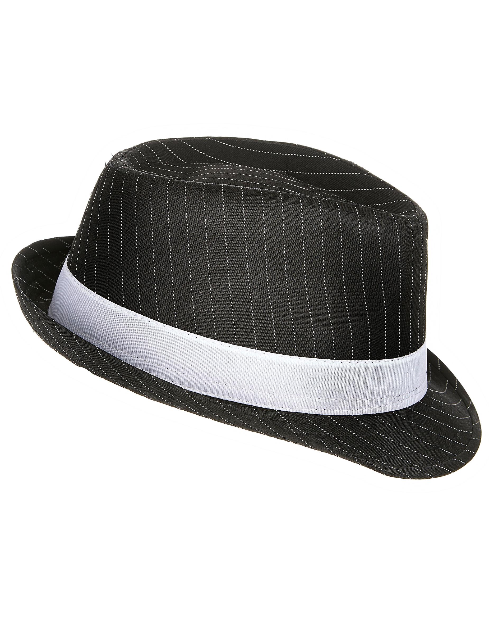 chapeau gangster noir ray adulte. Black Bedroom Furniture Sets. Home Design Ideas