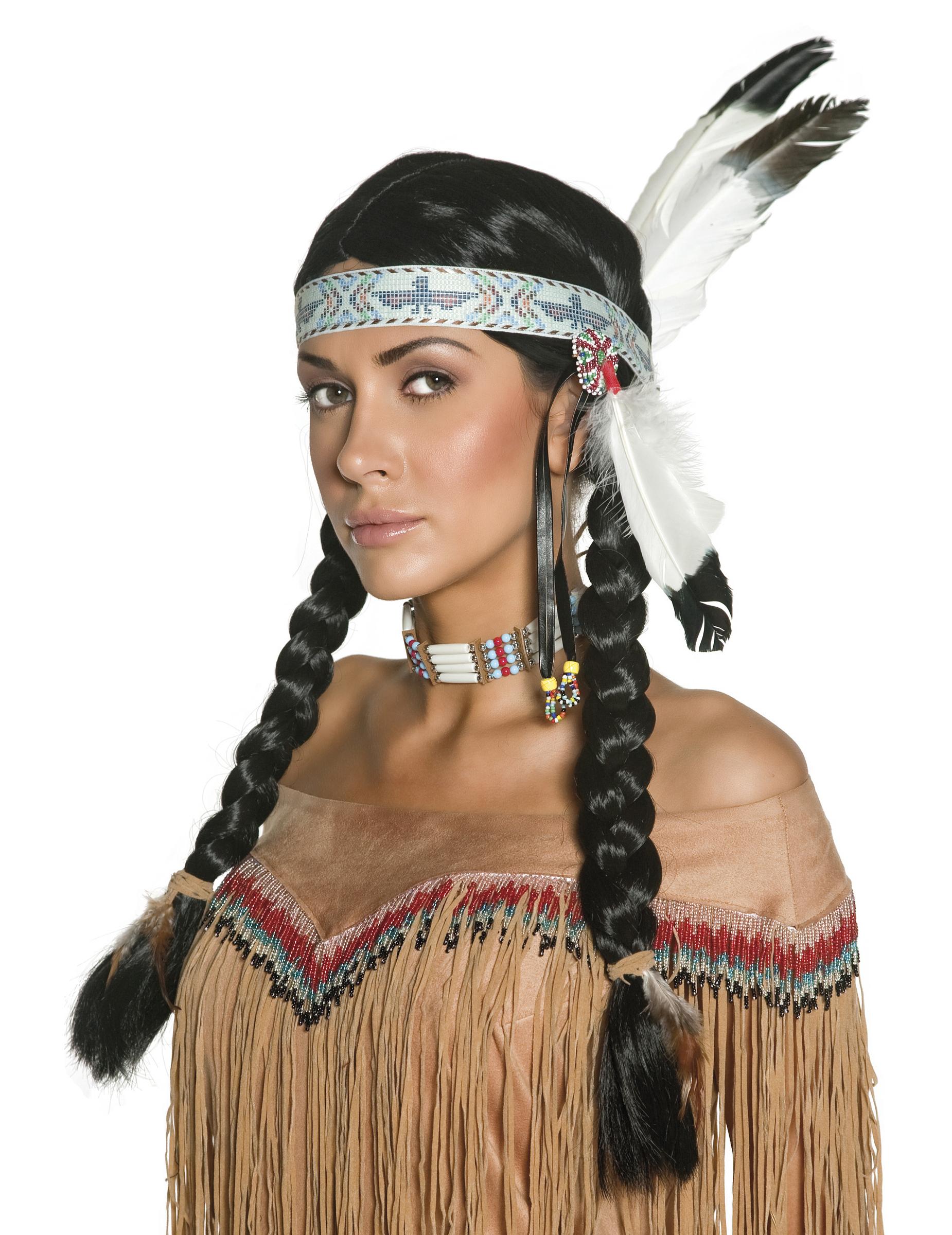 Perruque indienne à plumes femme