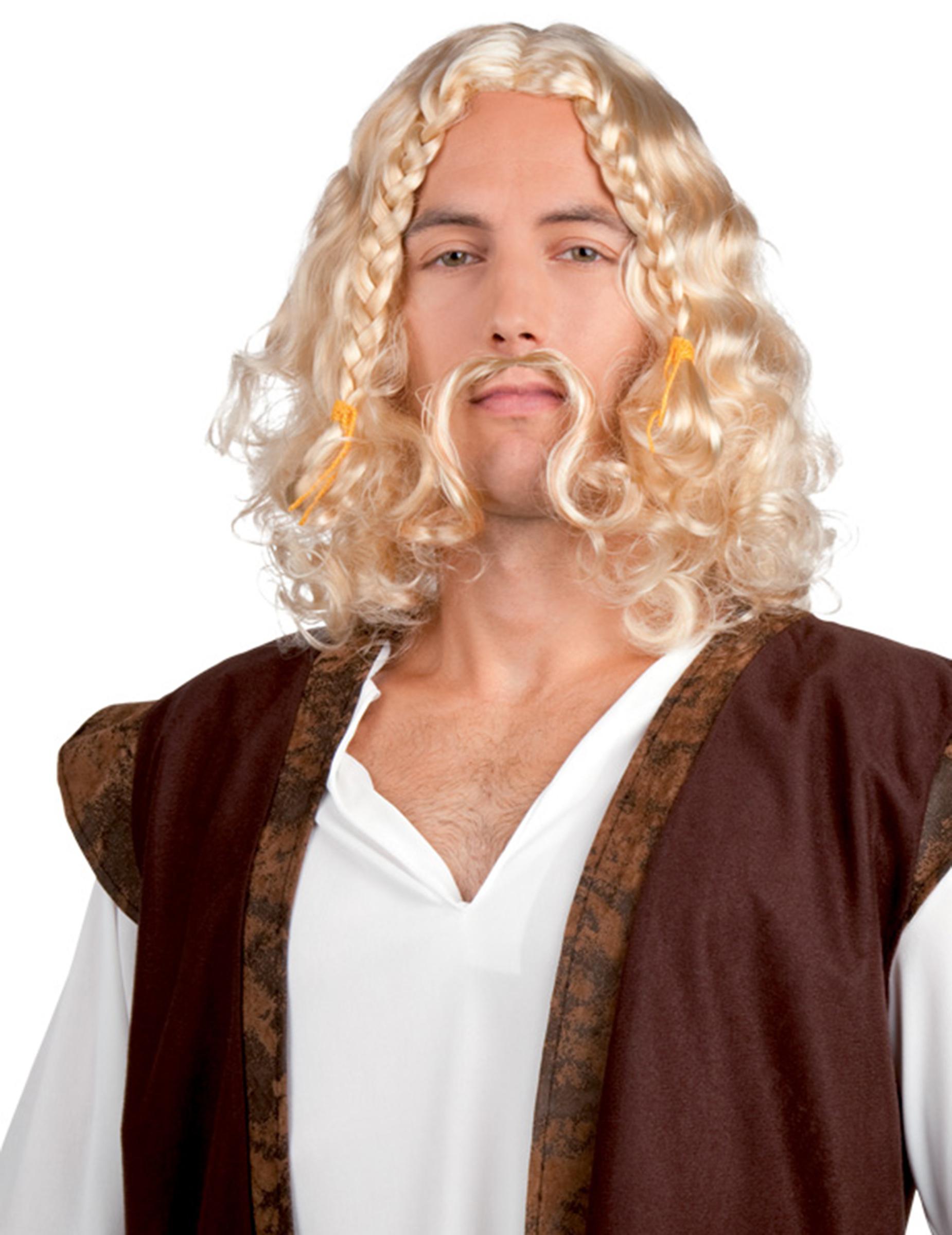 Perruque viking avec moustache homme : Deguise-