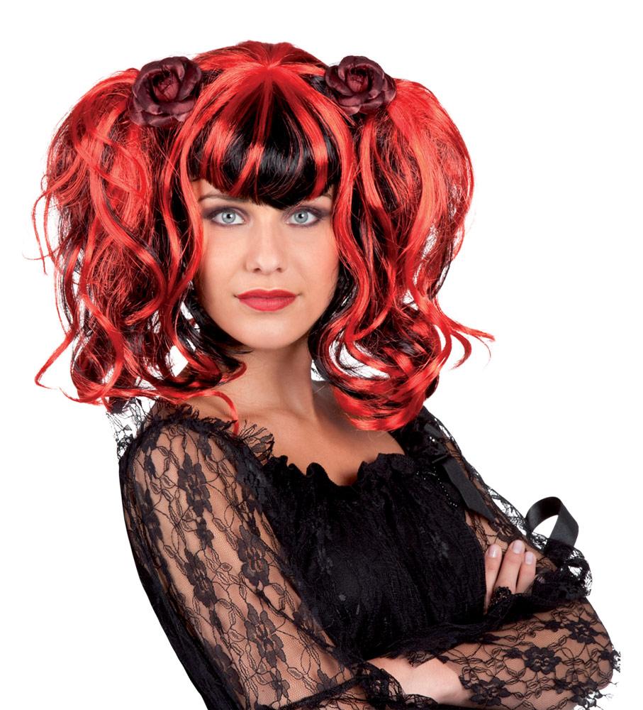 perruque gothique rouge et noire femme deguise toi achat de perruques. Black Bedroom Furniture Sets. Home Design Ideas