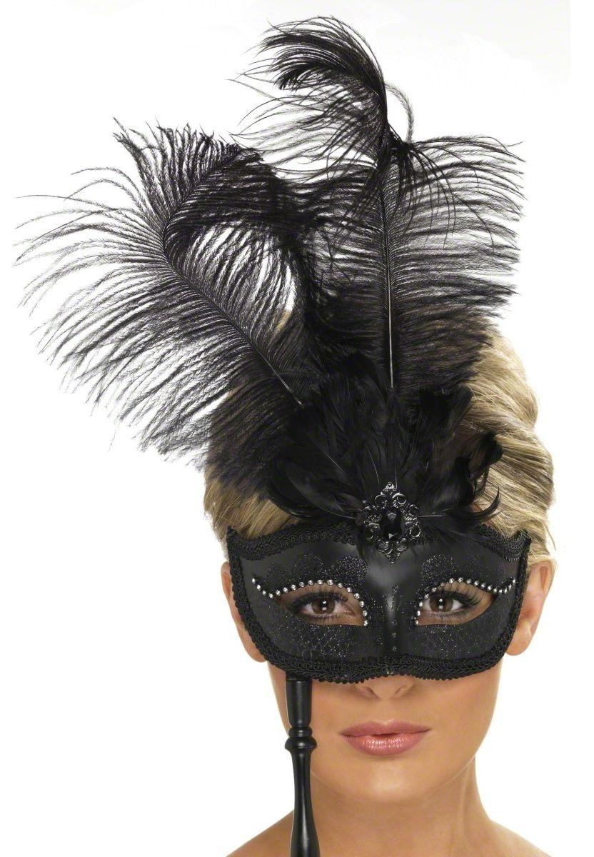 loup v nitien noir avec plumes noires sur tige adulte deguise toi achat de masques. Black Bedroom Furniture Sets. Home Design Ideas