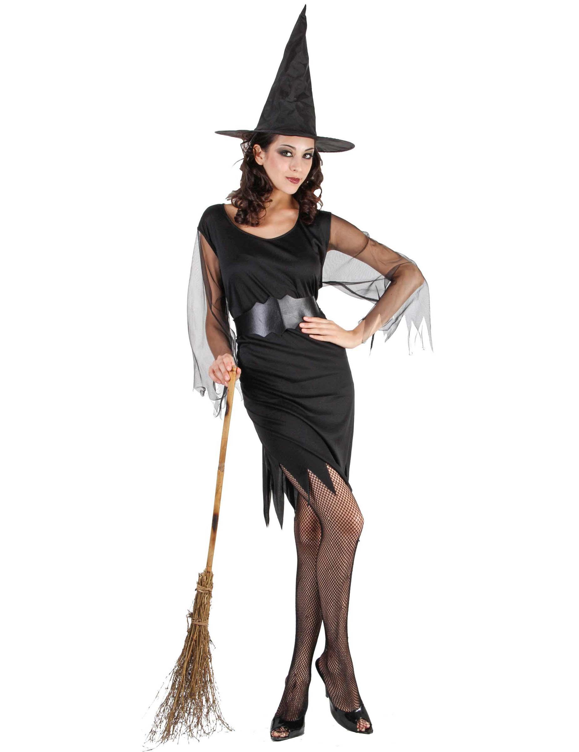 84b5b35e1c32ed Déguisement sorcière manches en tulle femme Halloween