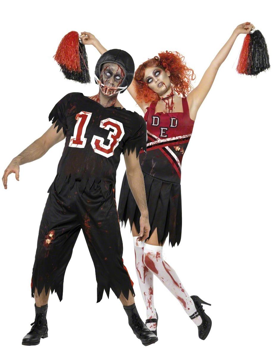 d guisements de couple de footballeur am ricain et pompom girl zombies halloween deguise toi. Black Bedroom Furniture Sets. Home Design Ideas