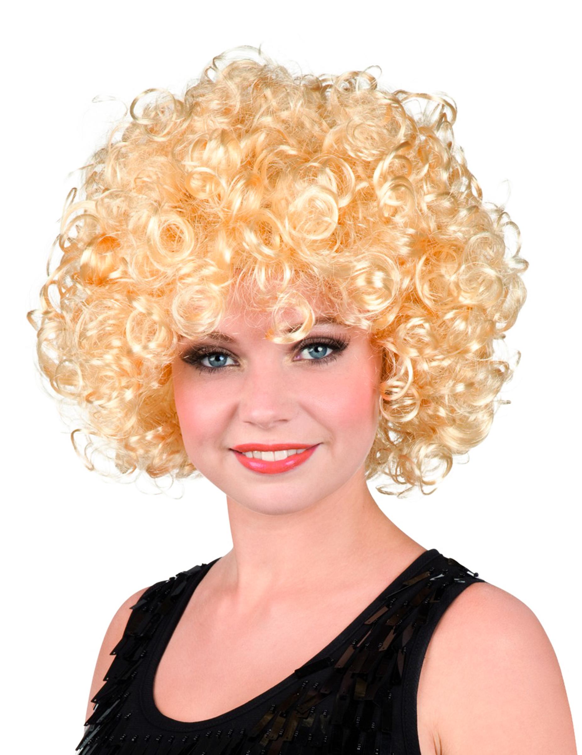 Perruque rétro bouclée blonde femme : Deguise-