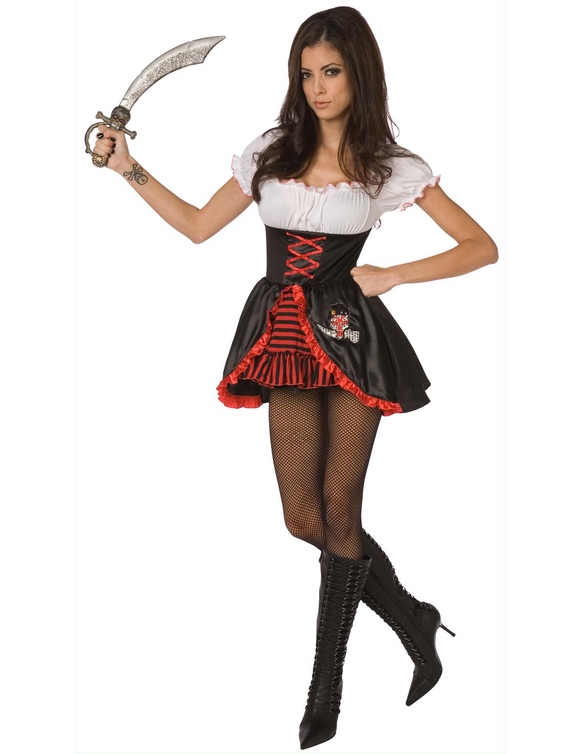 d guisement pirate femme sexy noir et rouge deguise toi achat de d guisements adultes. Black Bedroom Furniture Sets. Home Design Ideas