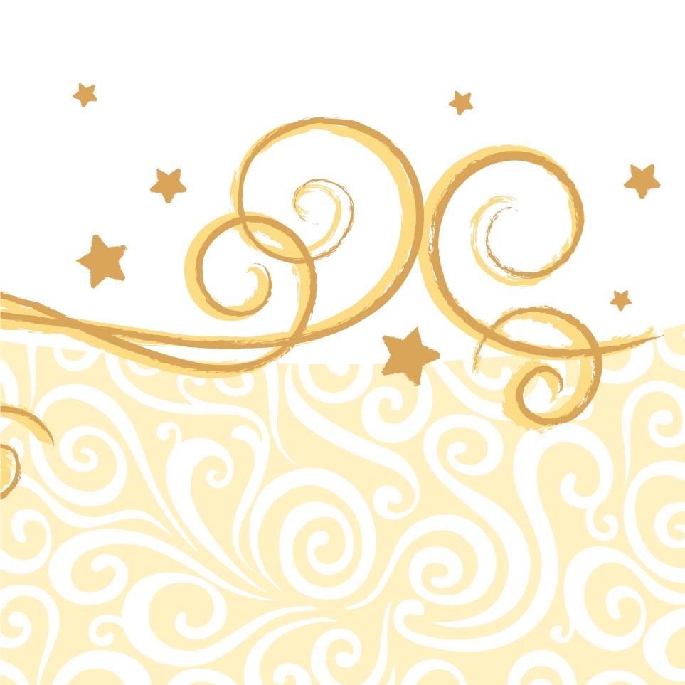 Accessorio da tavola 20 tovaglioli di carta bianchi con decoro dorato - Tovaglioli di carta decorati ...