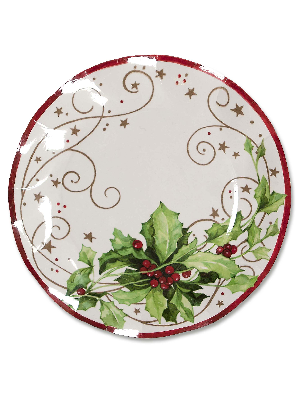 10 assiettes houx de no l achat de decoration animation - Decoration de noel avec du houx ...
