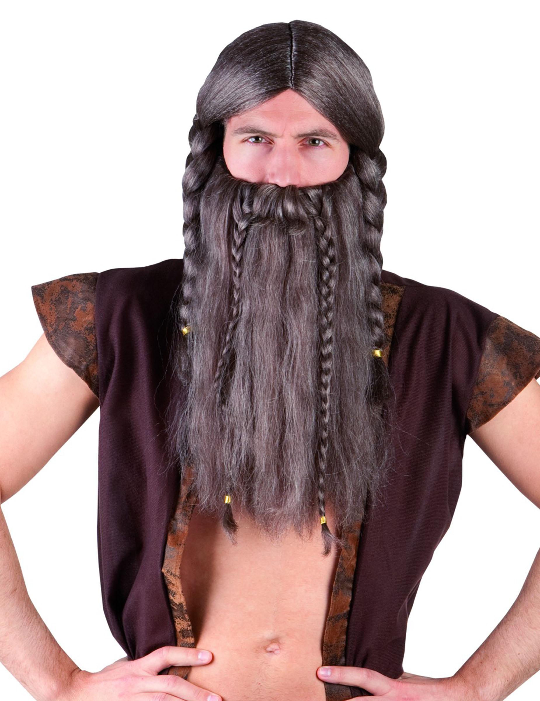 Perruque viking avec barbe adulte : Deguise-