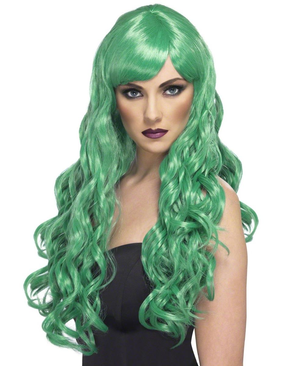 Perruque longue ondulée verte femme : Deguise-