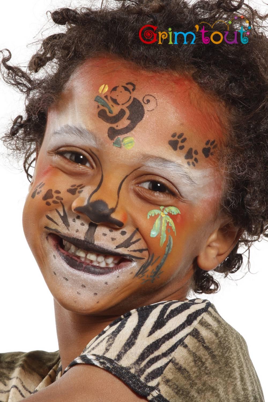 Pochoir de maquillage réutilisable animaux de la jungle Grim\u0027Tout®,1