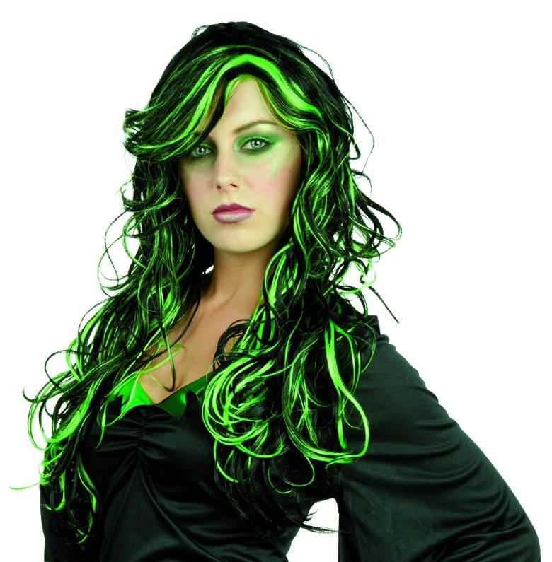 Perruque noire et verte femme