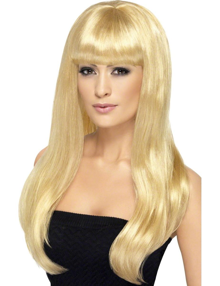 perruque longue blonde platine à frange femme : deguise-toi, achat