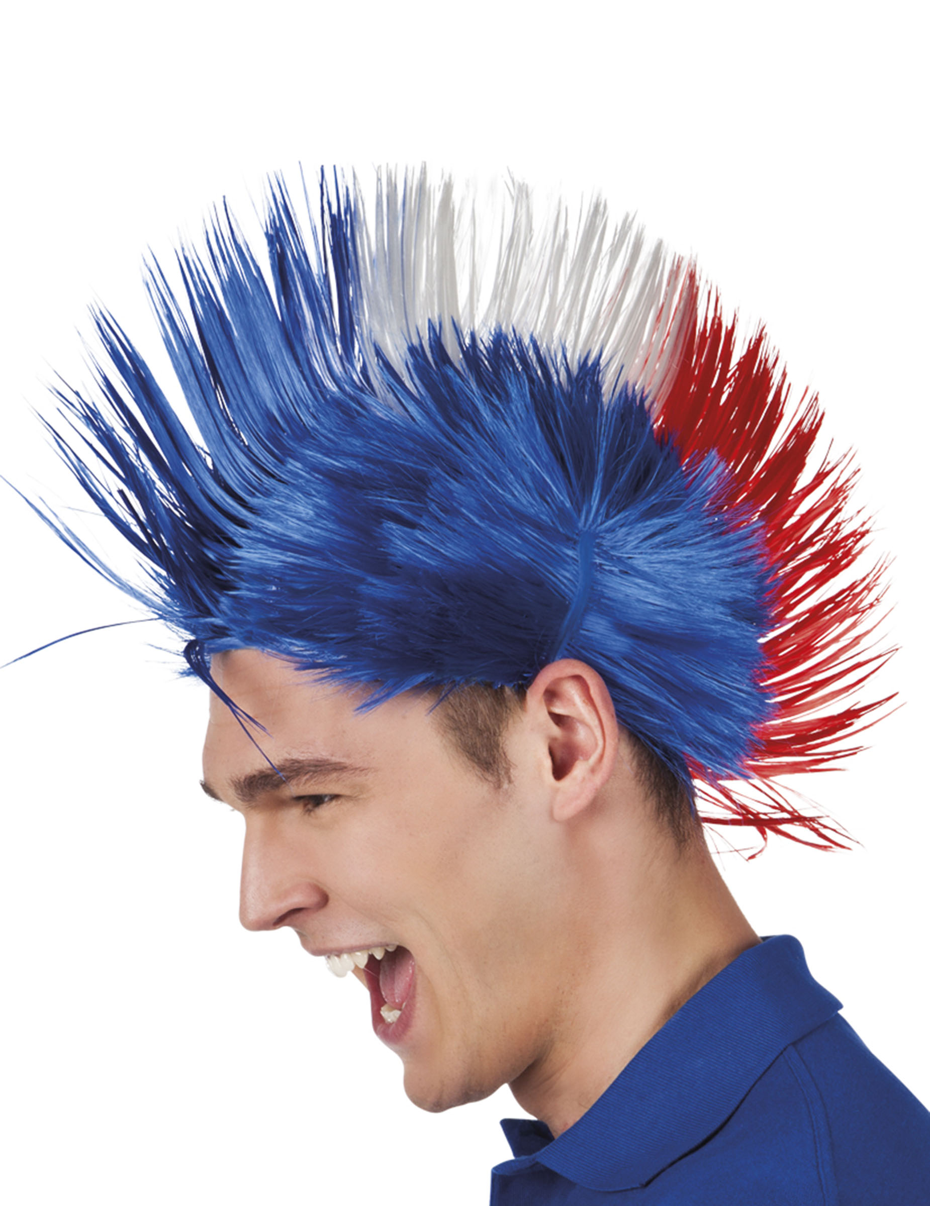 Perruque France tricolore style punk - Deguisetoi
