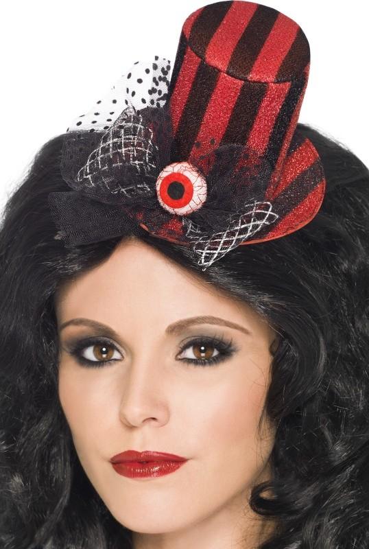 mini chapeau rouge et noir avec oeil femme halloween deguise toi achat de chapeaux. Black Bedroom Furniture Sets. Home Design Ideas
