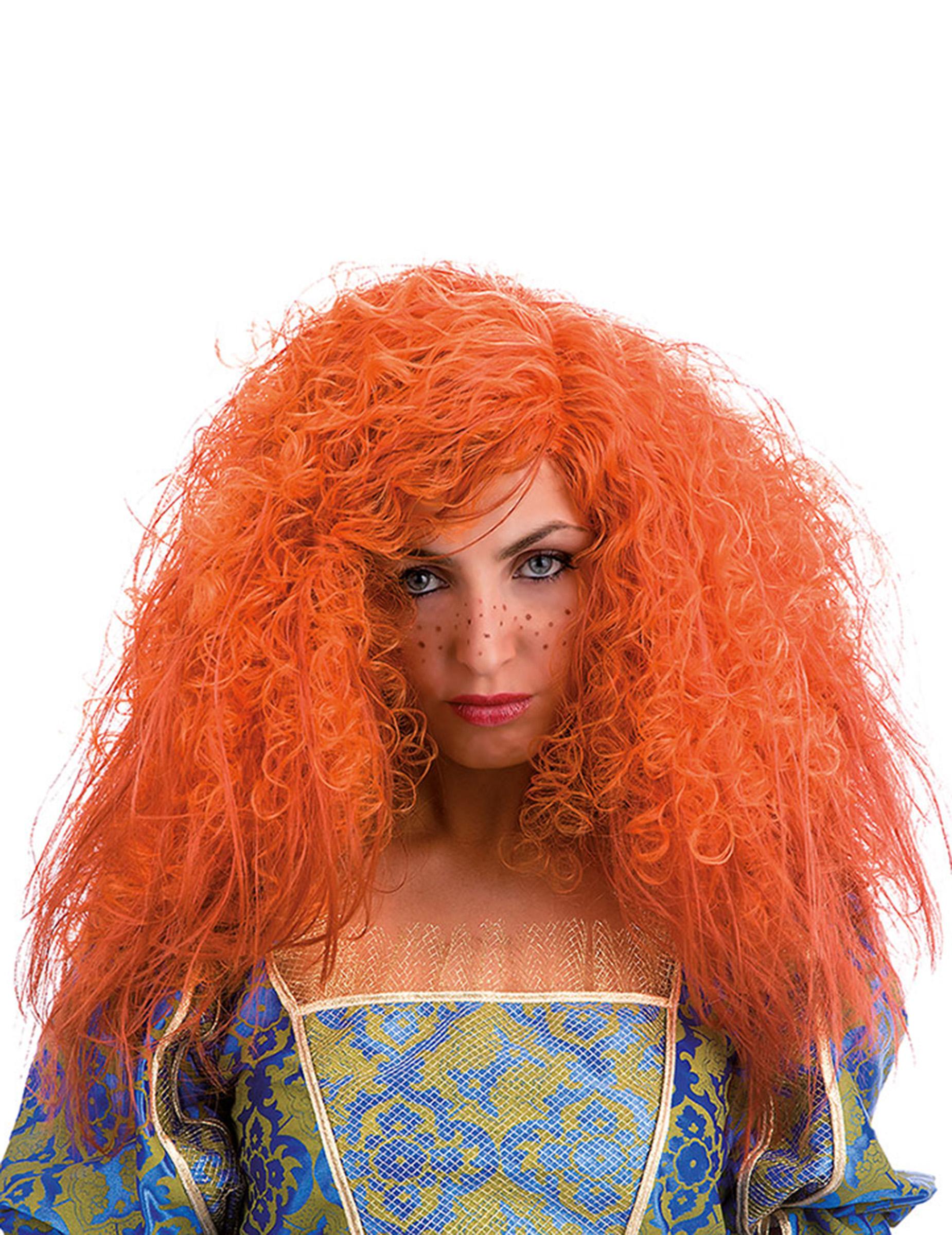 Perruque frisée orange femme