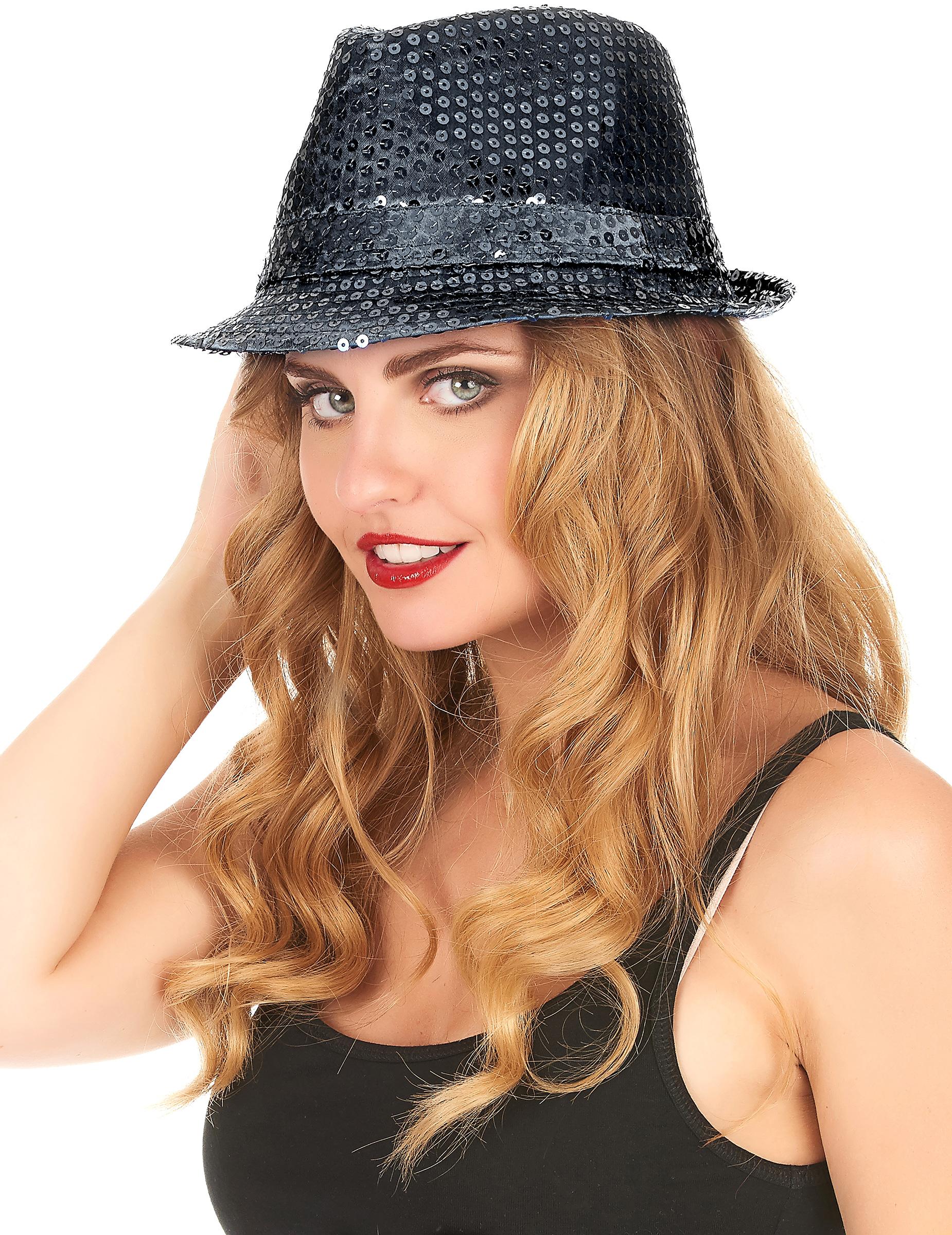 Chapeau borsalino à sequins noir adulte   Deguise-toi, achat de Chapeaux 6fd5faa6774