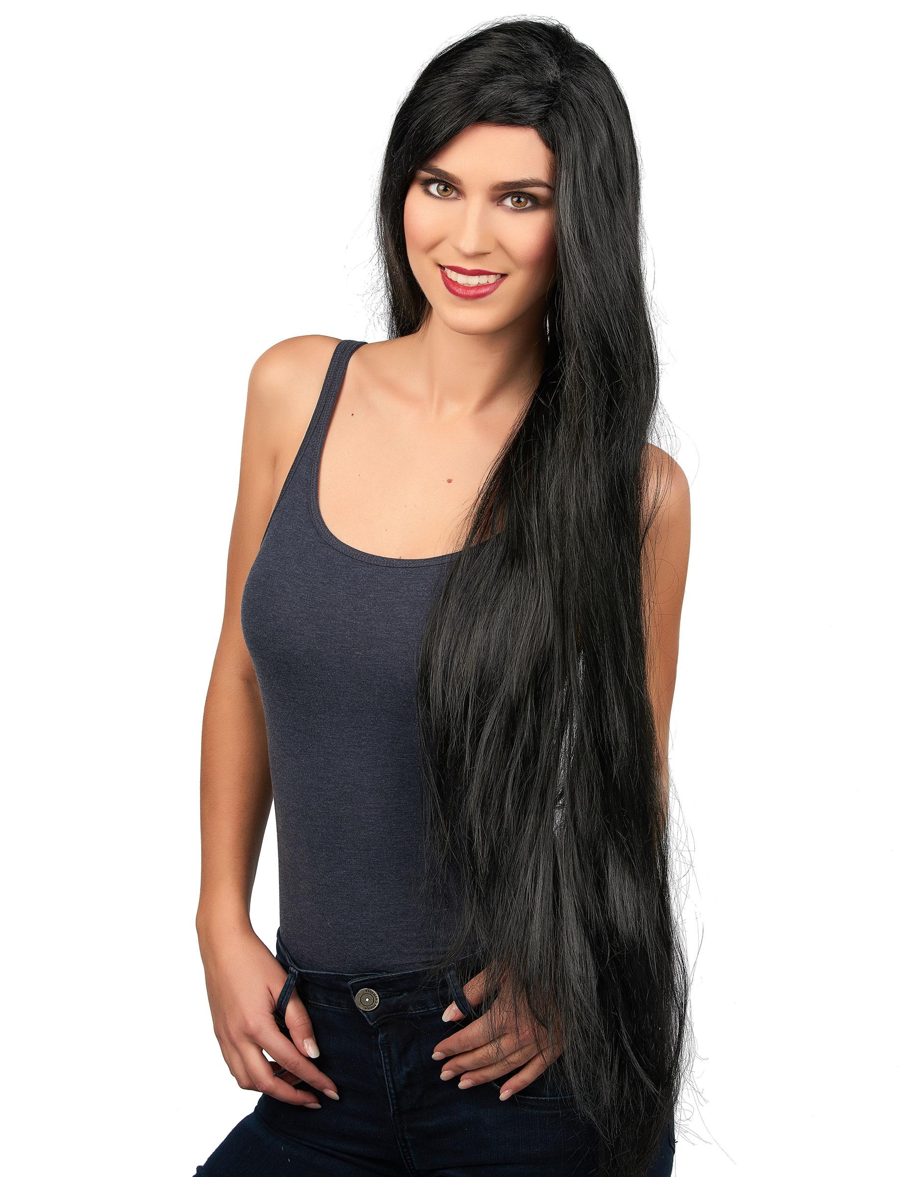 Perruque très longue noire femme : Deguise-