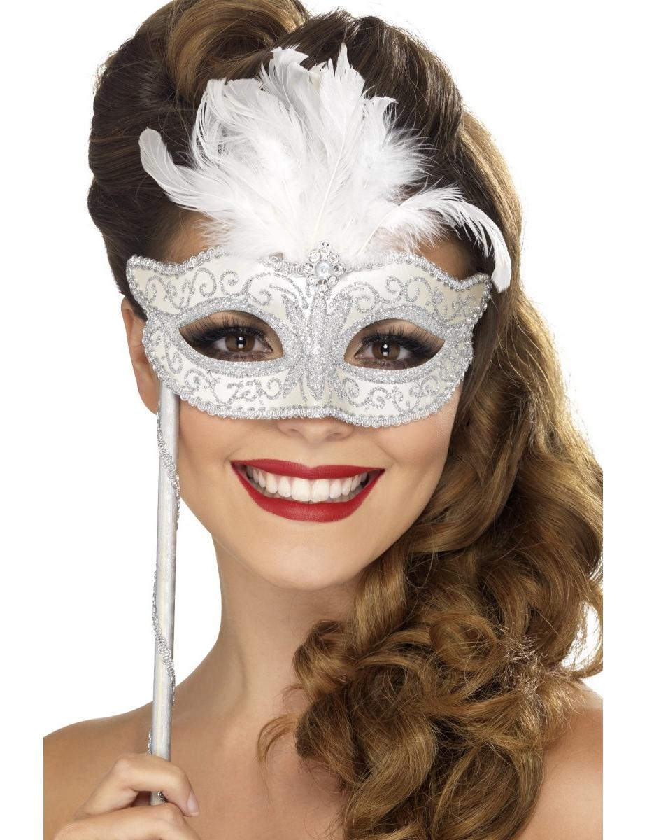 loup v nitien argent avec plumes blanches adulte deguise toi achat de masques. Black Bedroom Furniture Sets. Home Design Ideas
