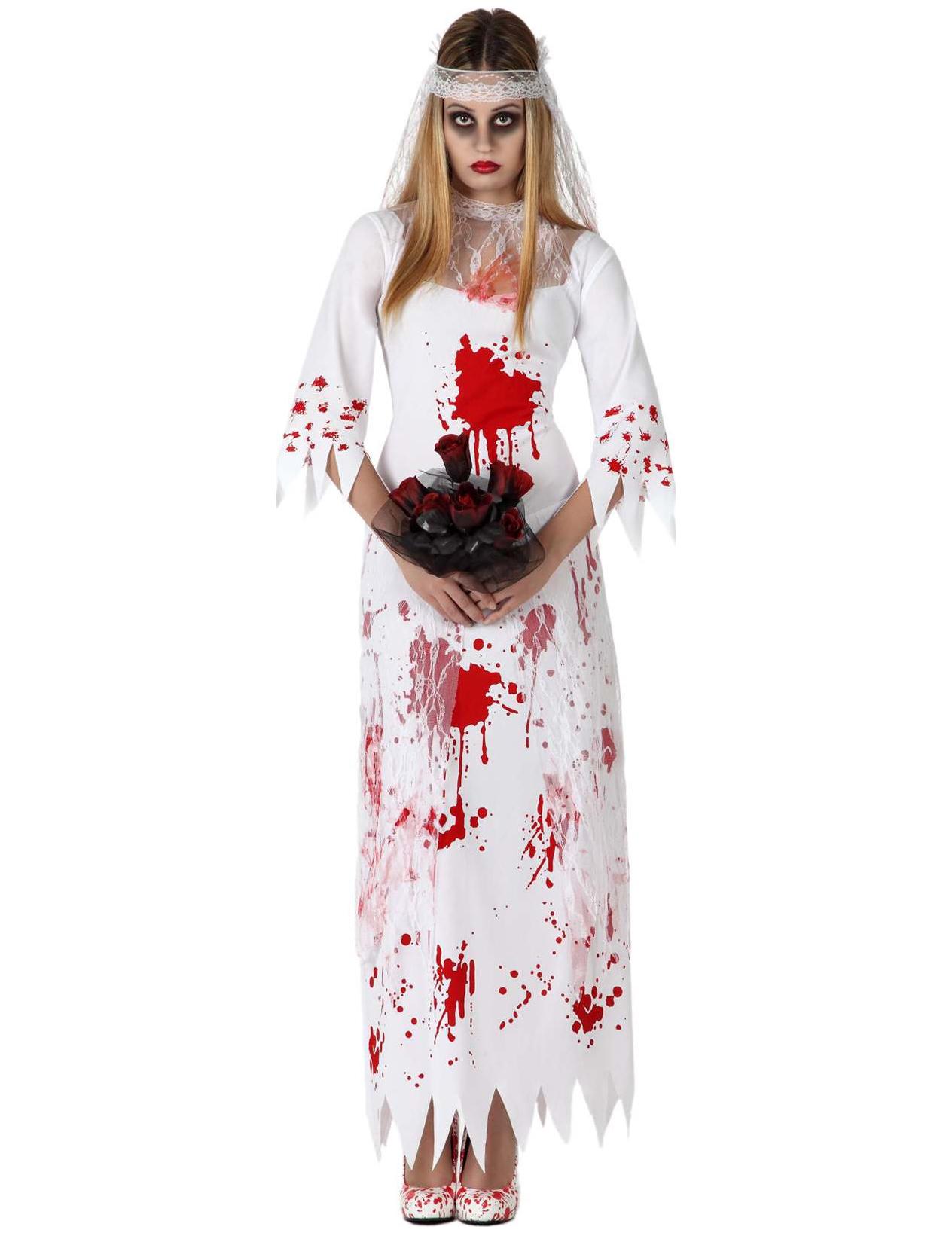 Maquillage Halloween Mariee.Deguisement Mariee Ensanglantee Femme Effrayante Halloween Deguise Toi Achat De Deguisements Adultes