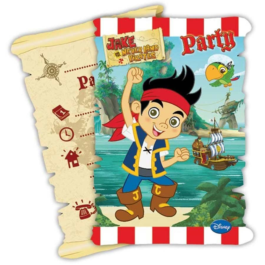 6 cartes d 39 invitation avec enveloppe jake et les pirates. Black Bedroom Furniture Sets. Home Design Ideas