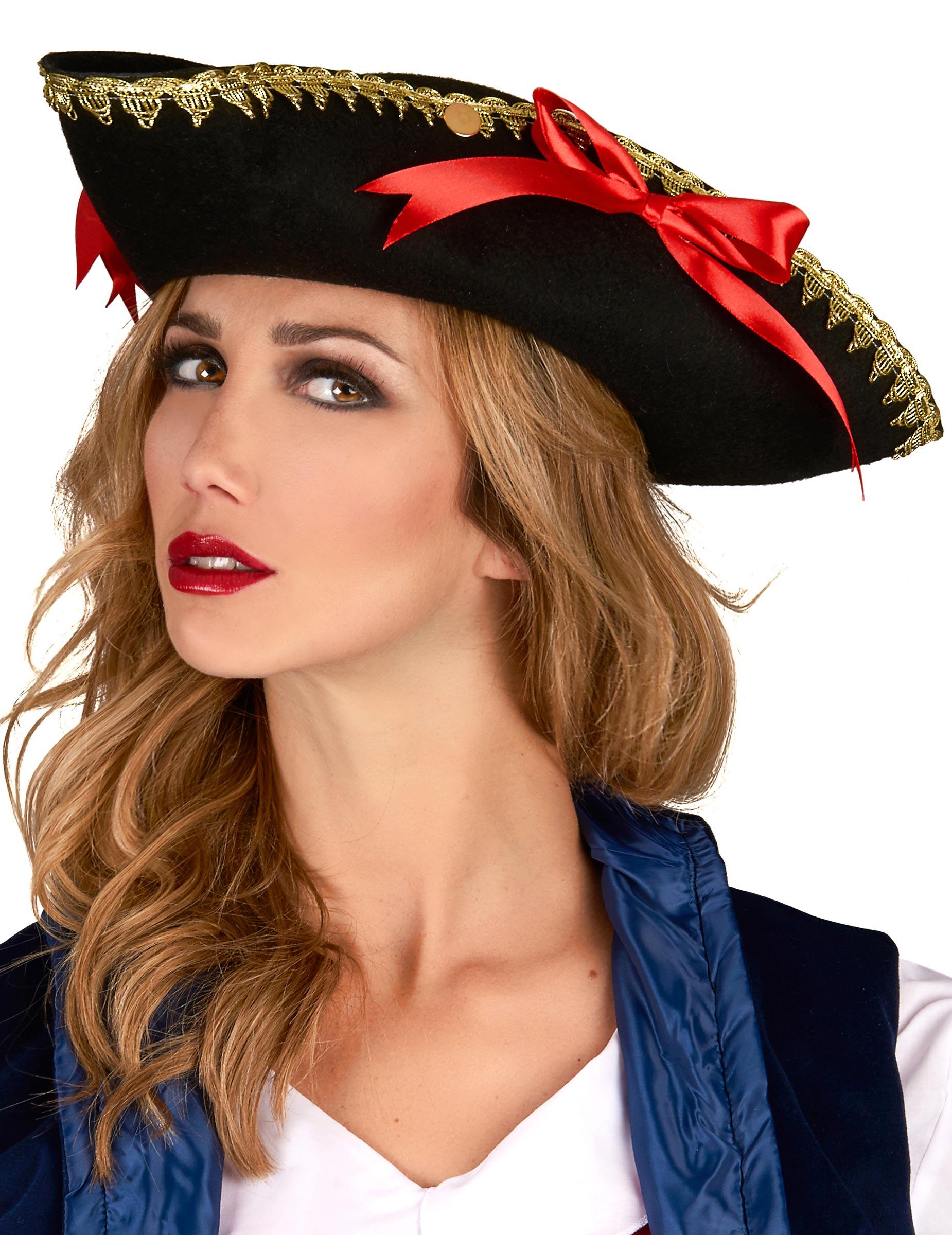 2cf070961126f Chapeau tricorne noeuds rouges femme
