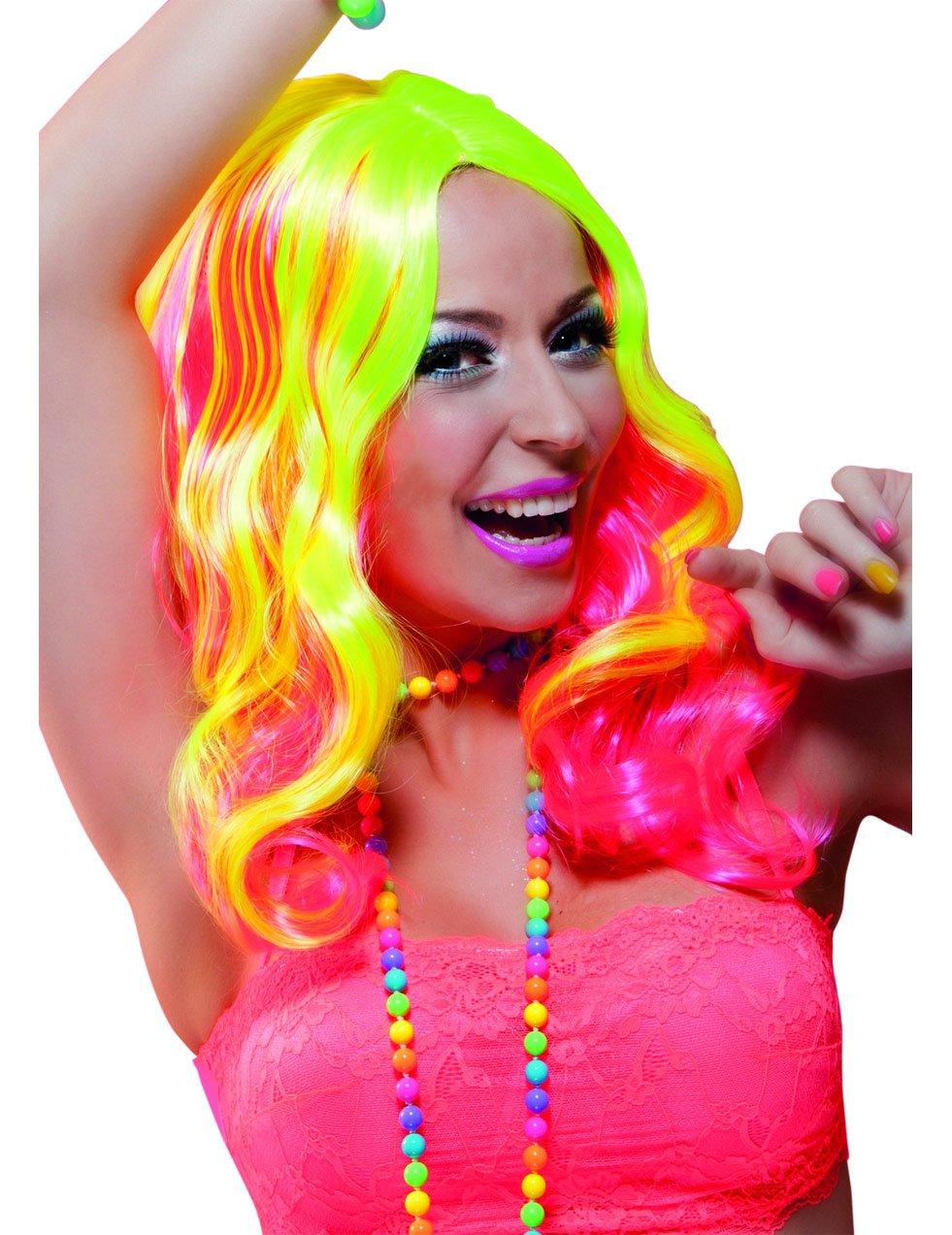 perruque longue rose et jaune fluo femme deguise toi achat de perruques. Black Bedroom Furniture Sets. Home Design Ideas