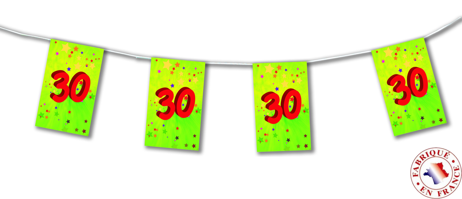 Guirlande fanions papier 30 ans 4m achat de decoration for Decoration 30 ans