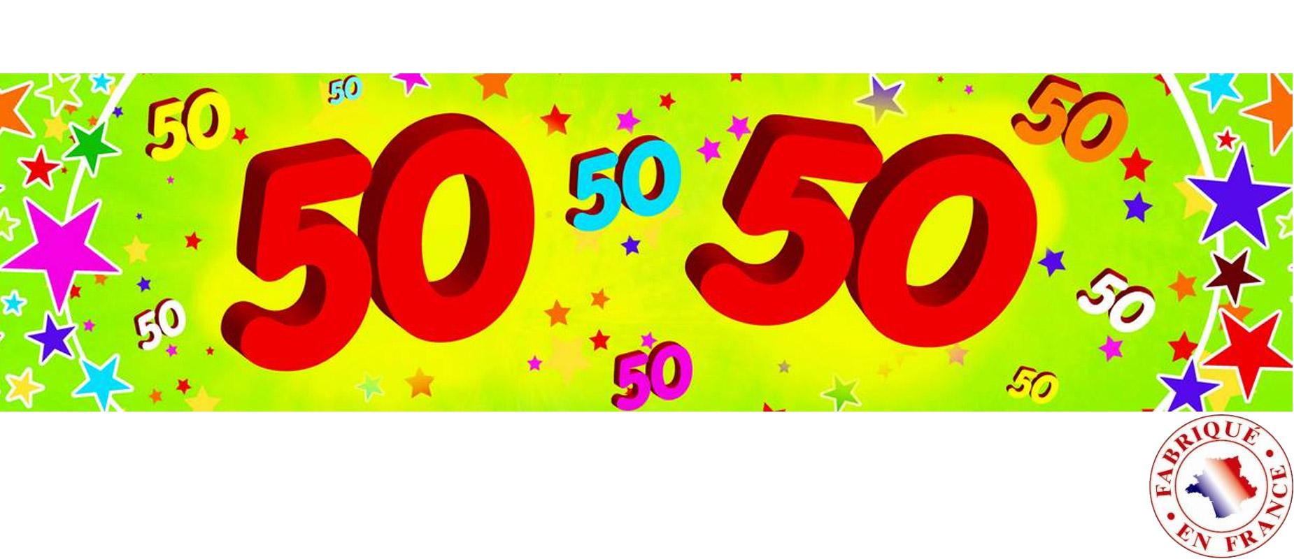 banderole papier 50 ans 0 16 x 2 44 m deguise toi achat de decoration animation. Black Bedroom Furniture Sets. Home Design Ideas