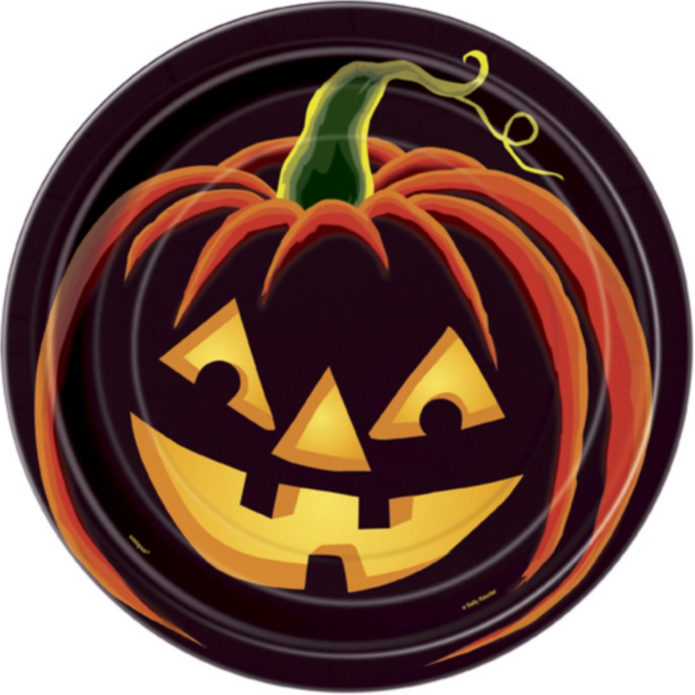 8 assiettes citrouille noire halloween - Deguisetoi fr halloween ...