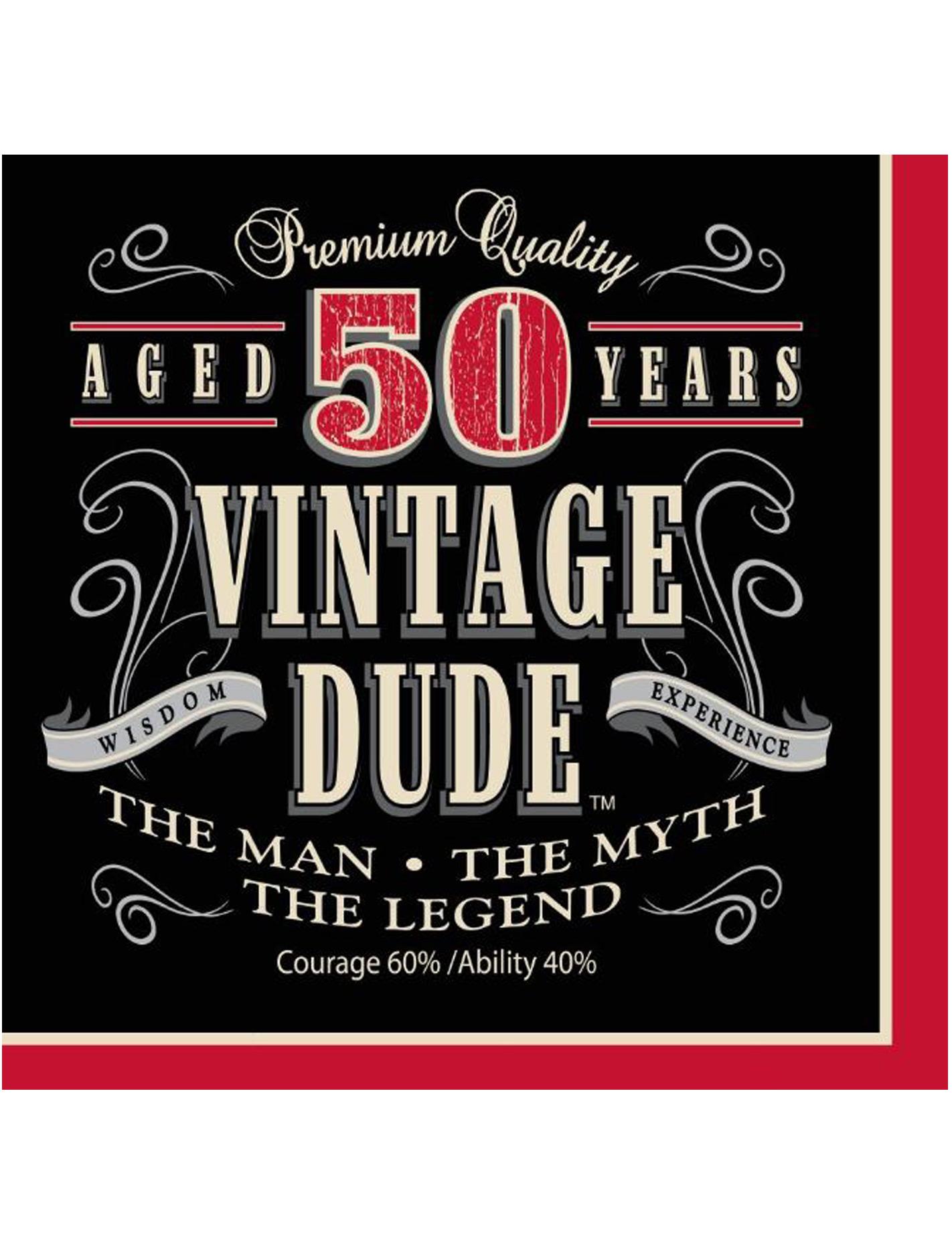 16 Serviettes Anniversaire Vintage 50 Ans 33 Cm Noir Et Rouge