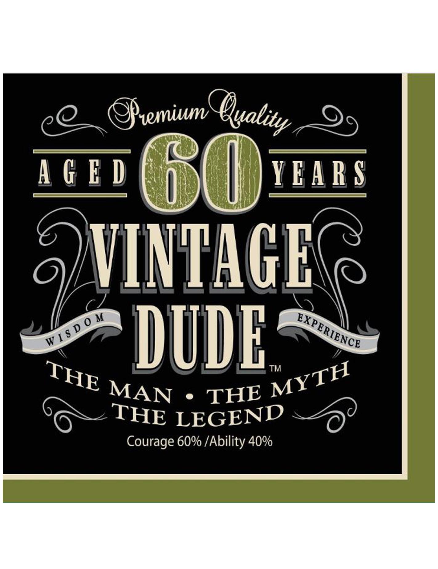 16 serviettes anniversaire vintage 60 ans 33 cm