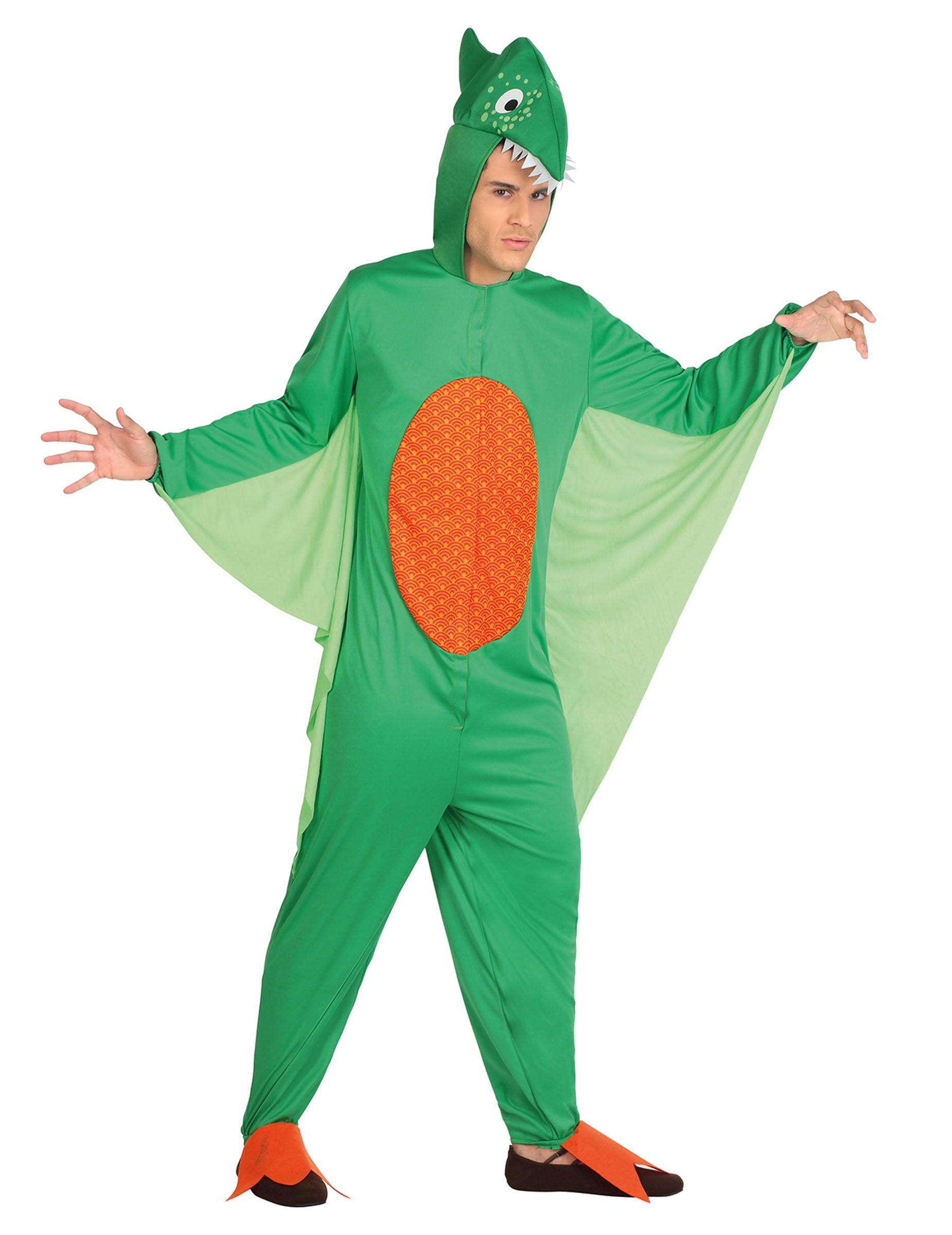 d guisement dinosaure vert et orange homme deguise toi achat de d guisements adultes. Black Bedroom Furniture Sets. Home Design Ideas