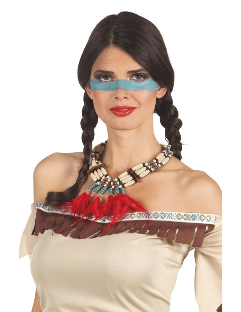 collier indien avec plumettes rouges femme deguise toi achat de accessoires. Black Bedroom Furniture Sets. Home Design Ideas