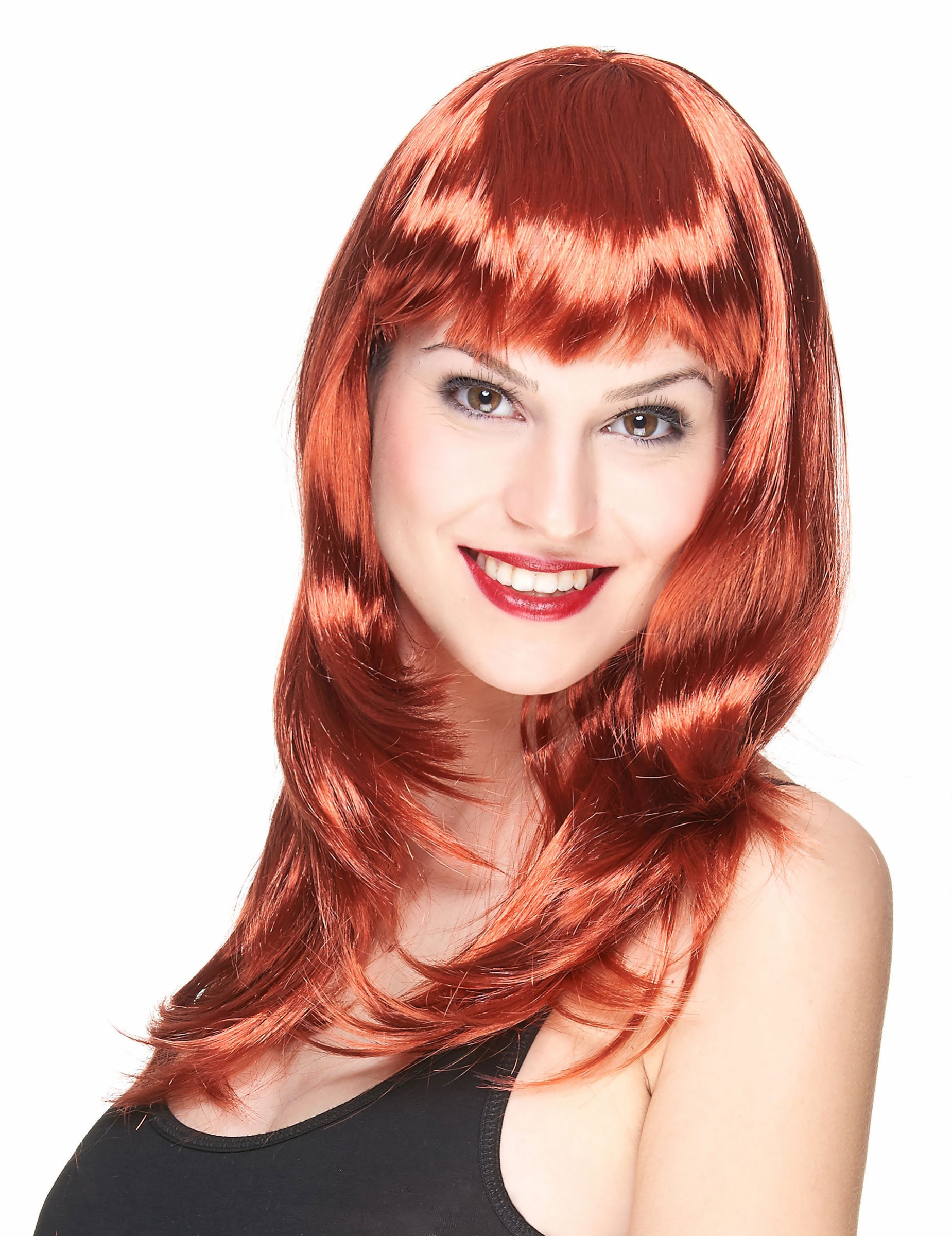 Perruque longue rousse à frange femme : Deguise-