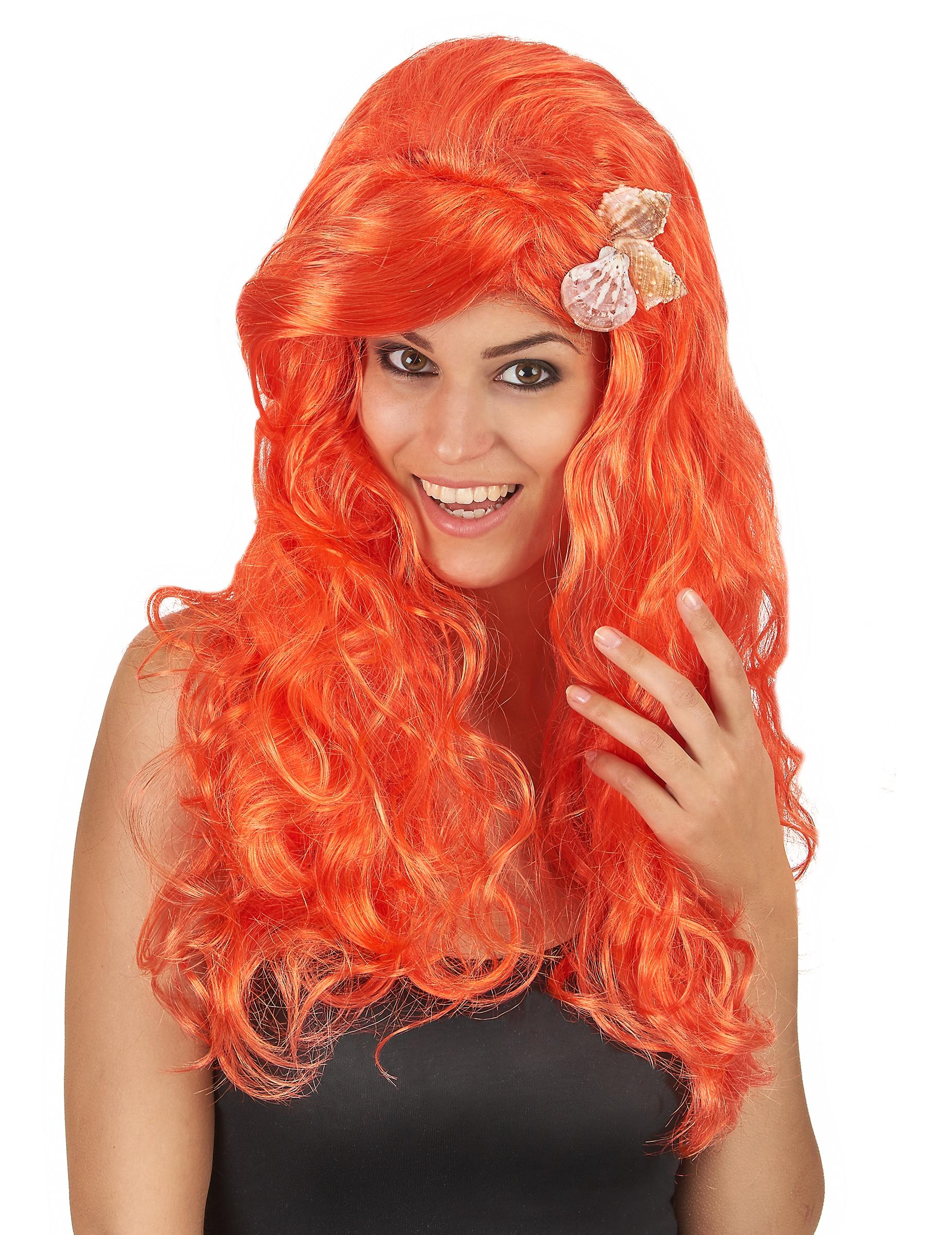 Perruque longue orange femme : Deguise-toi,