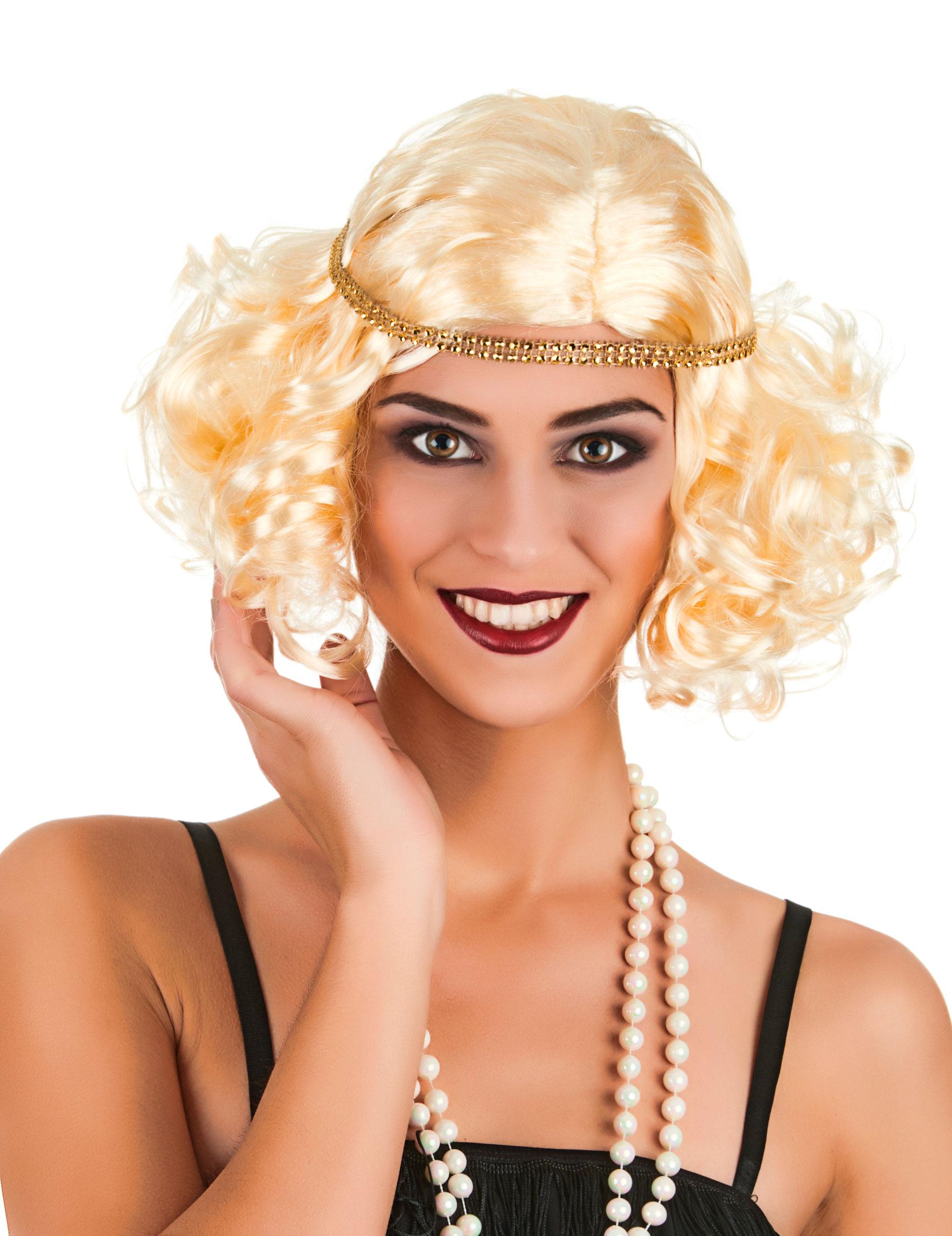 Perruque bouclée charleston blonde femme