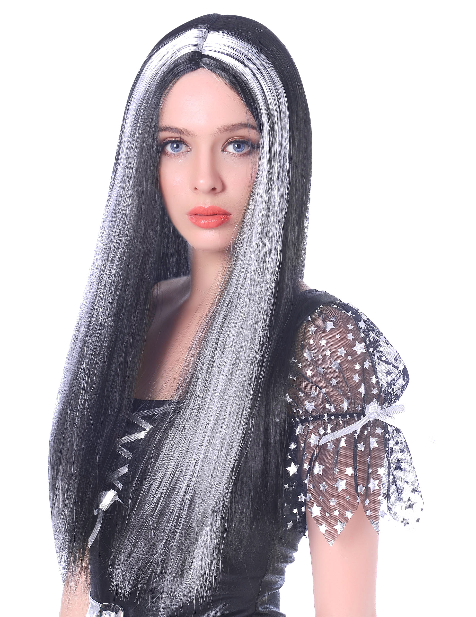 Perruque longue noire et blanche femme -