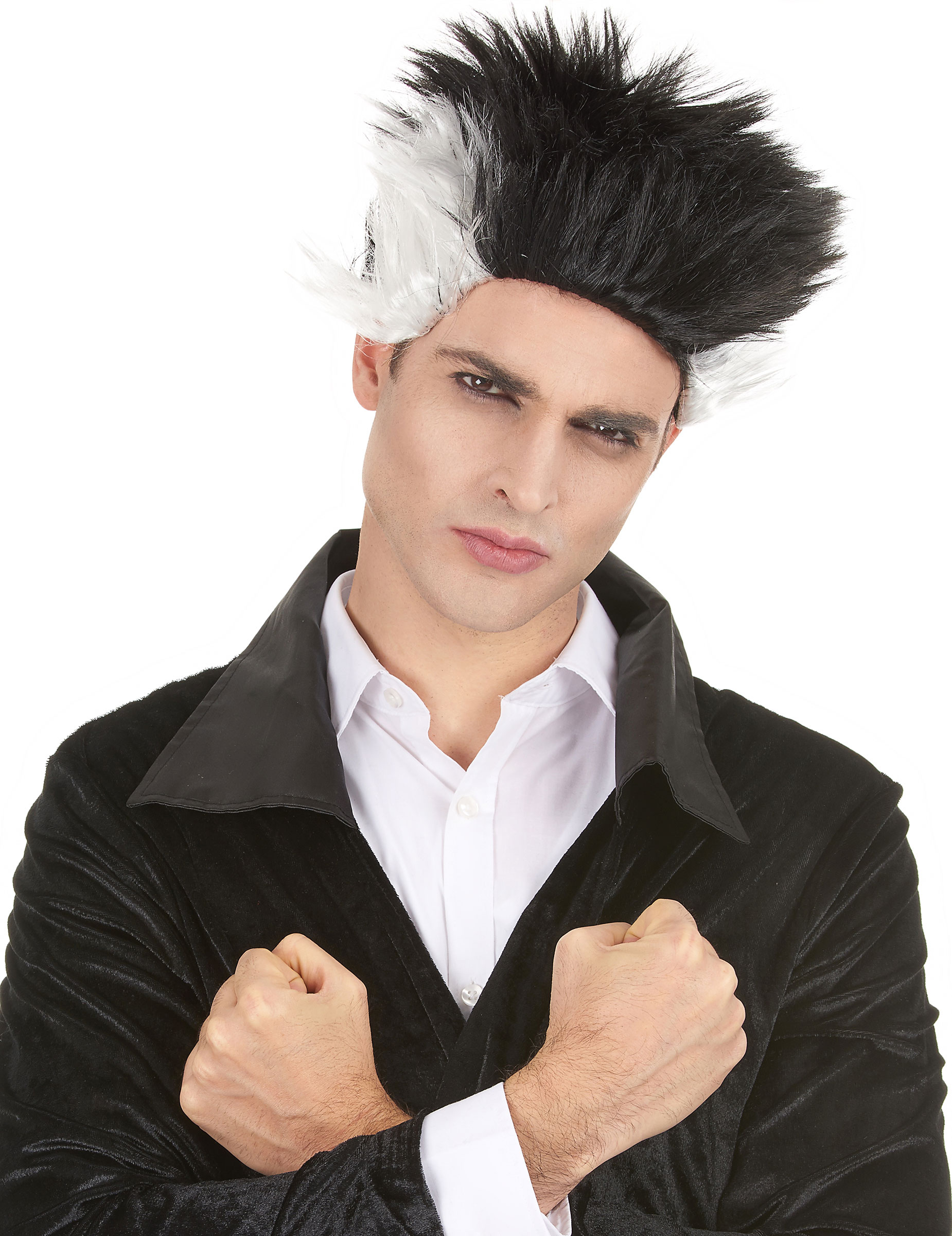 Perruque vampire noire et blanche homme Halloween