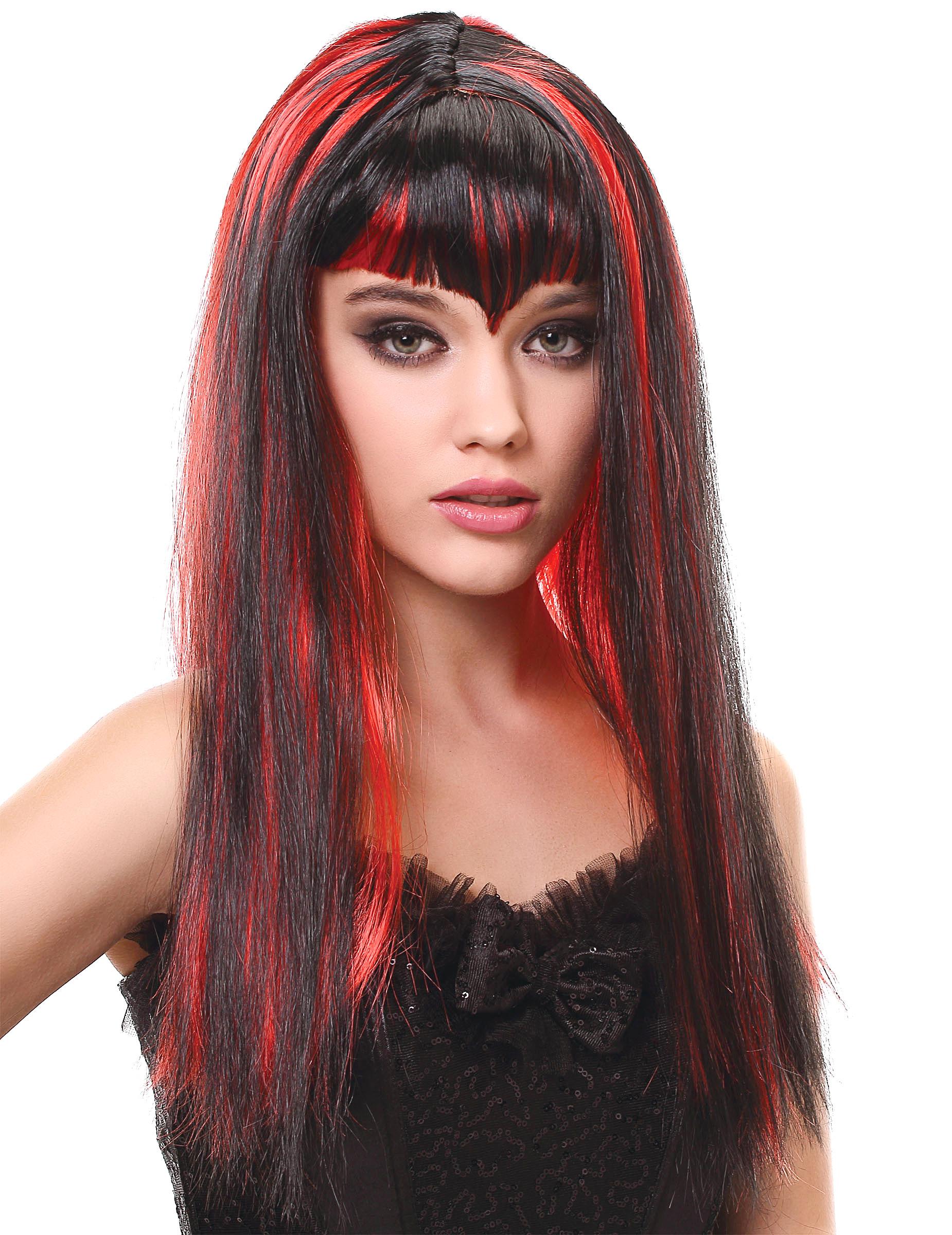 Perruque vampire longue noire et rouge avec