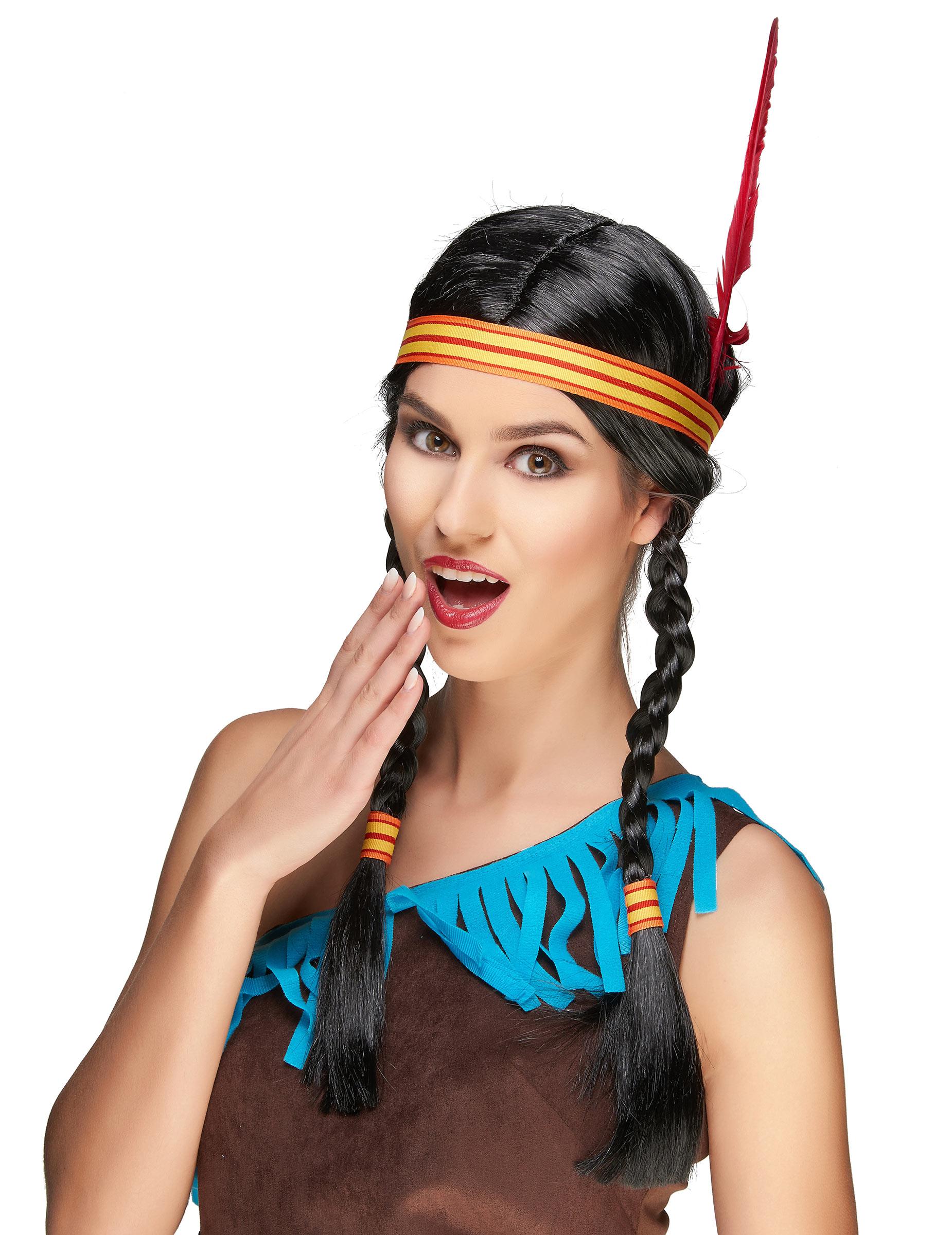 Perruque Indienne avec plume femme