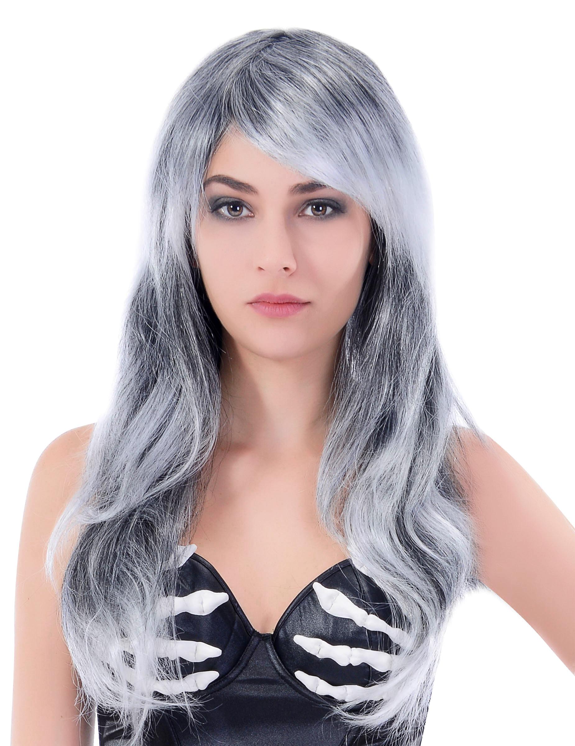 Perruque grise longueondulée femme