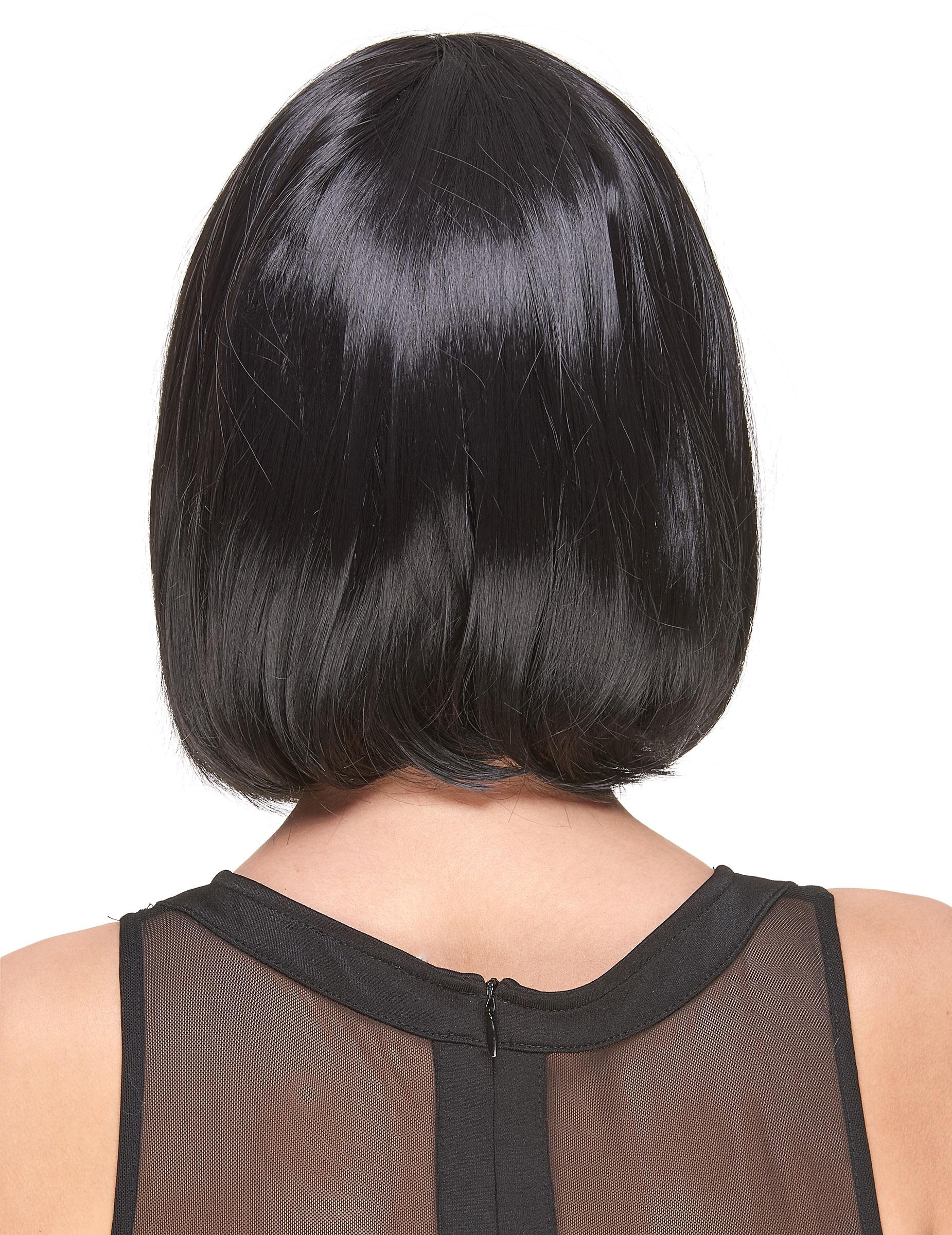 Perruque Luxe Noire Carre Plongeant Avec Frange Femme Deguise Toi Achat De Perruques