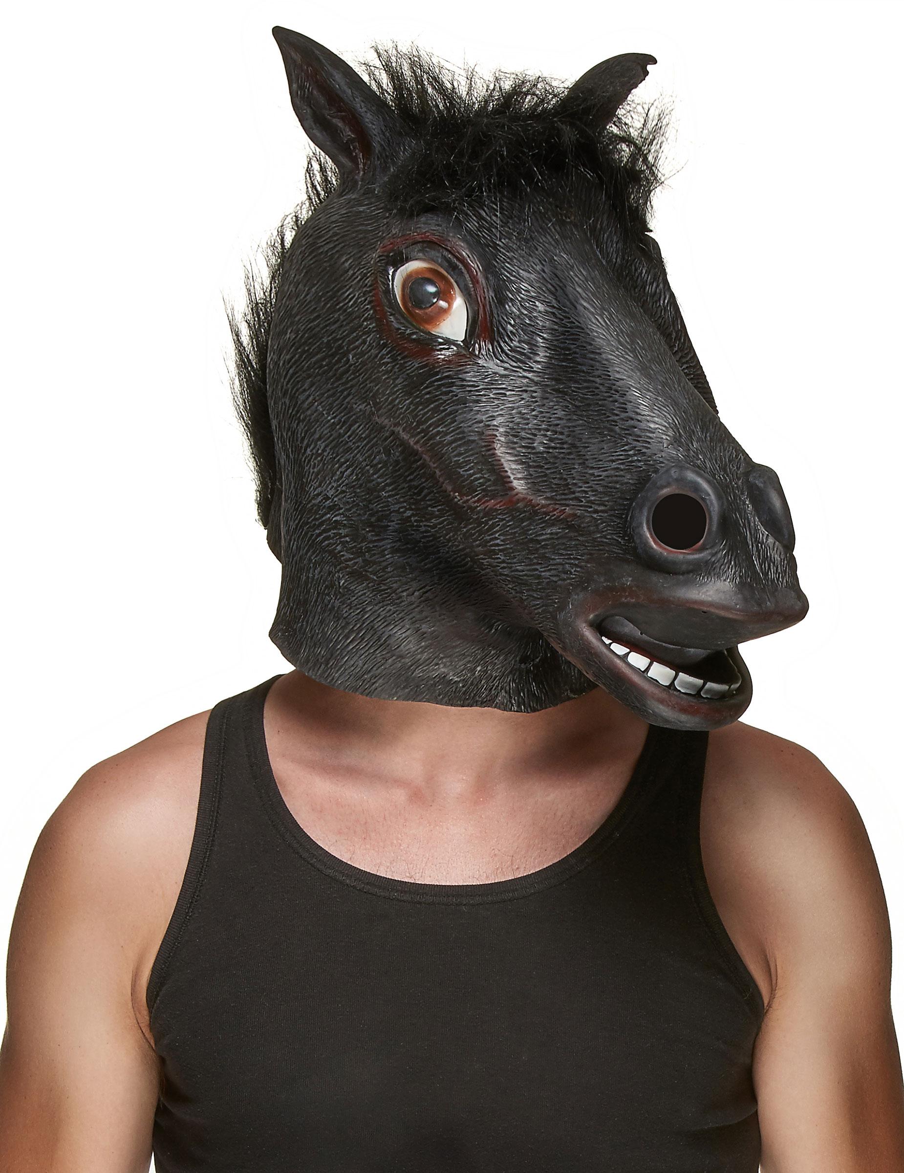 Masque latex t te de cheval noir adulte deguise toi - Image tete de cheval ...