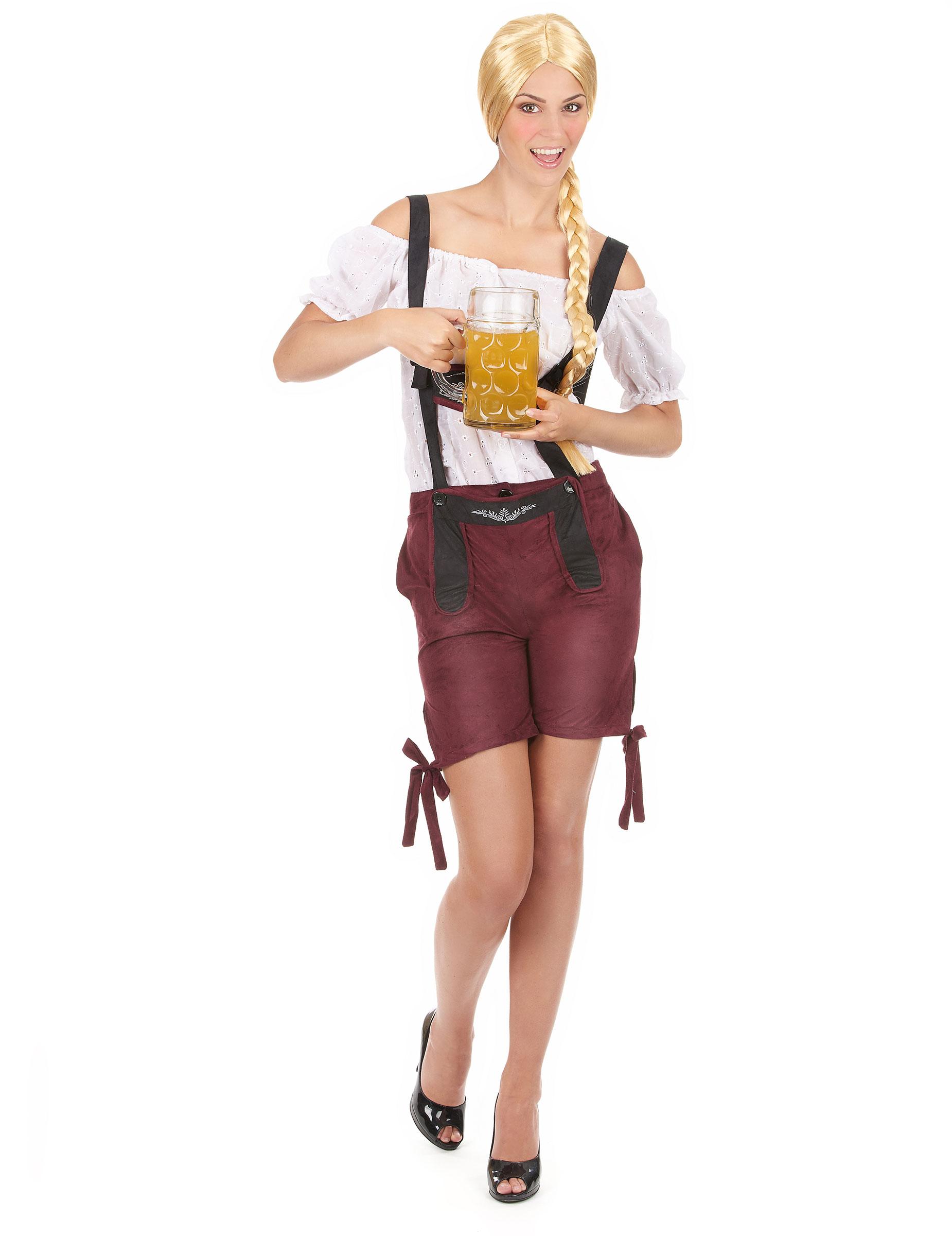 revendeur brillance des couleurs haut fonctionnaire Déguisement tyrolienne short bordeaux femme : Deguise-toi ...