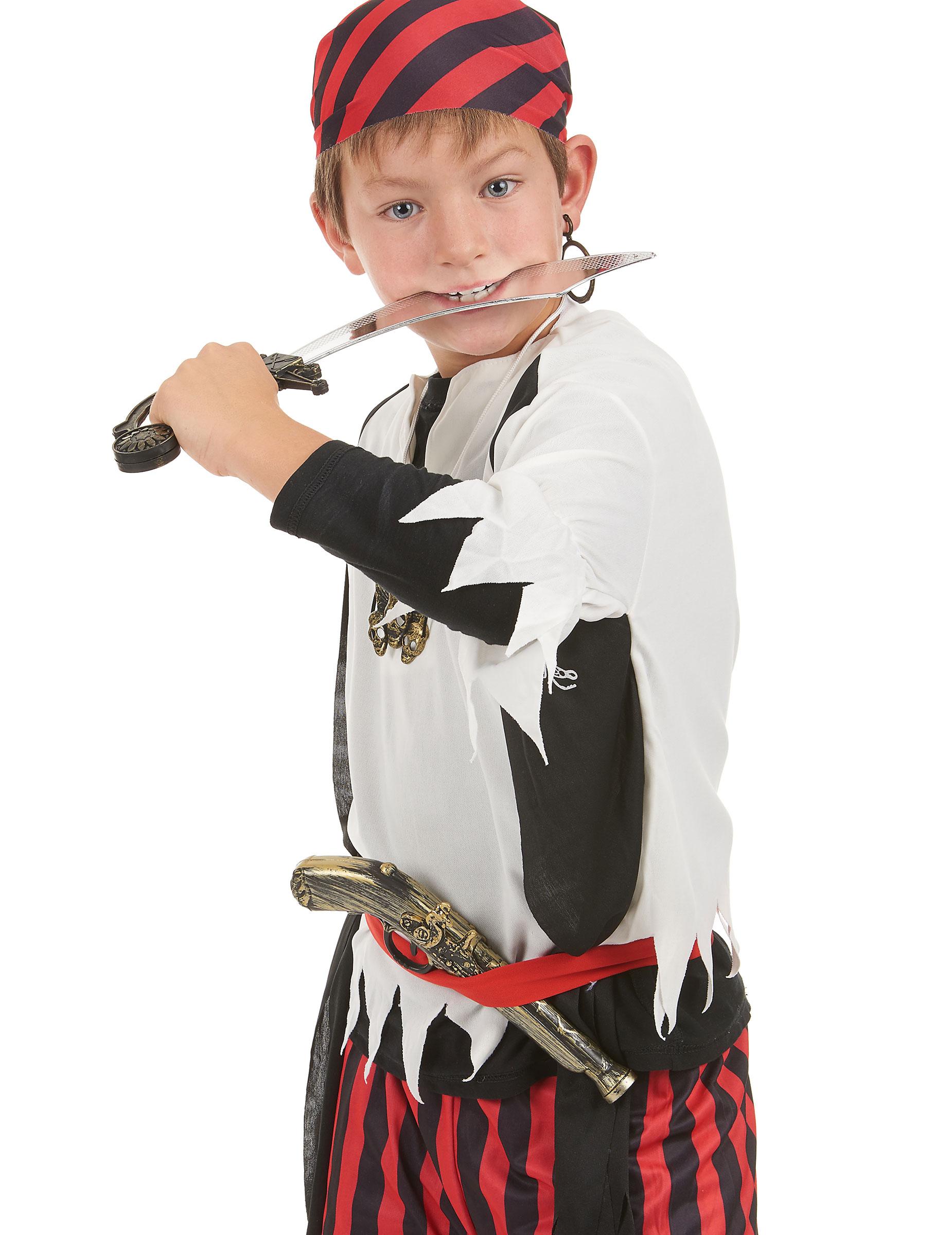 ce4e6f8786d Kit de pirate en plastique - Sabre pistolet insigne et boucle d oreilles  Enfant-